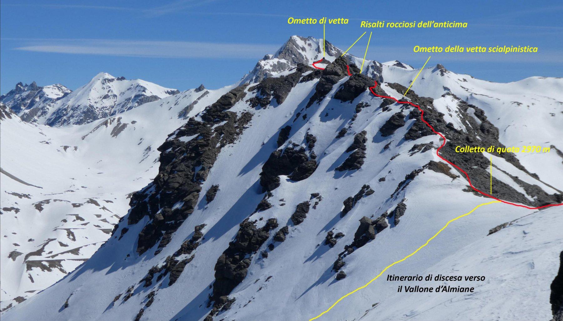la cresta finale per arrivare in cima alla Punta Valfredda