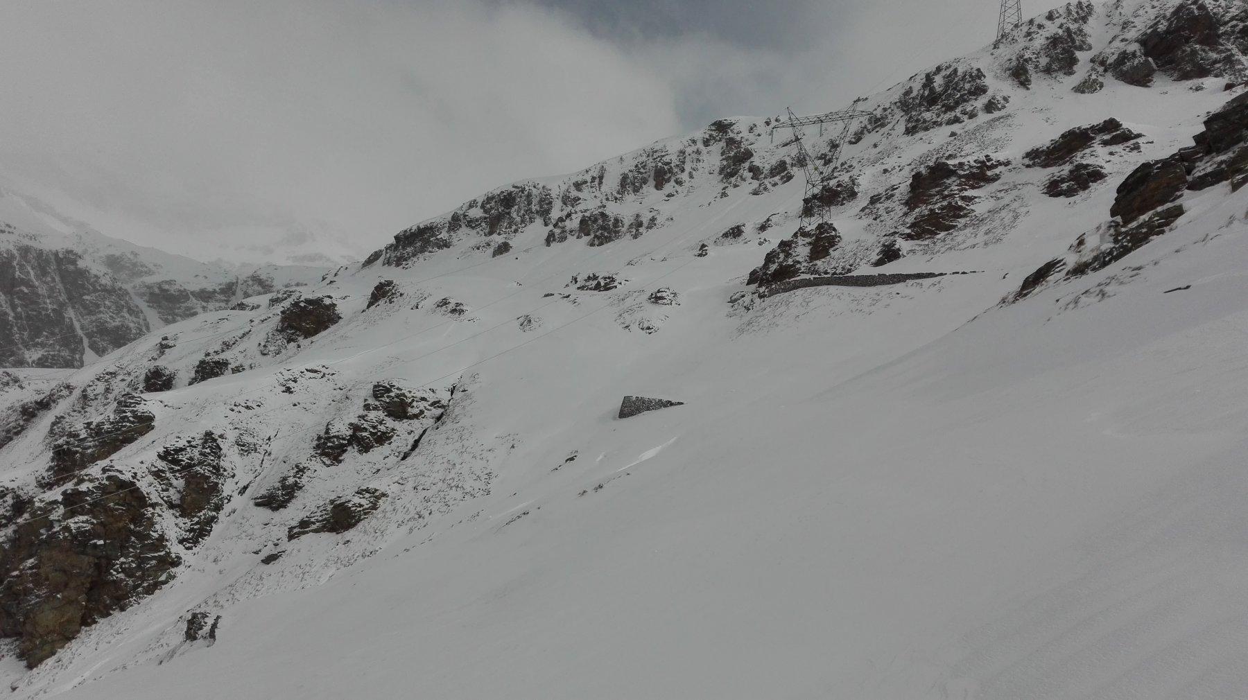 La ex strada militare, parzialmente coperta dalla neve