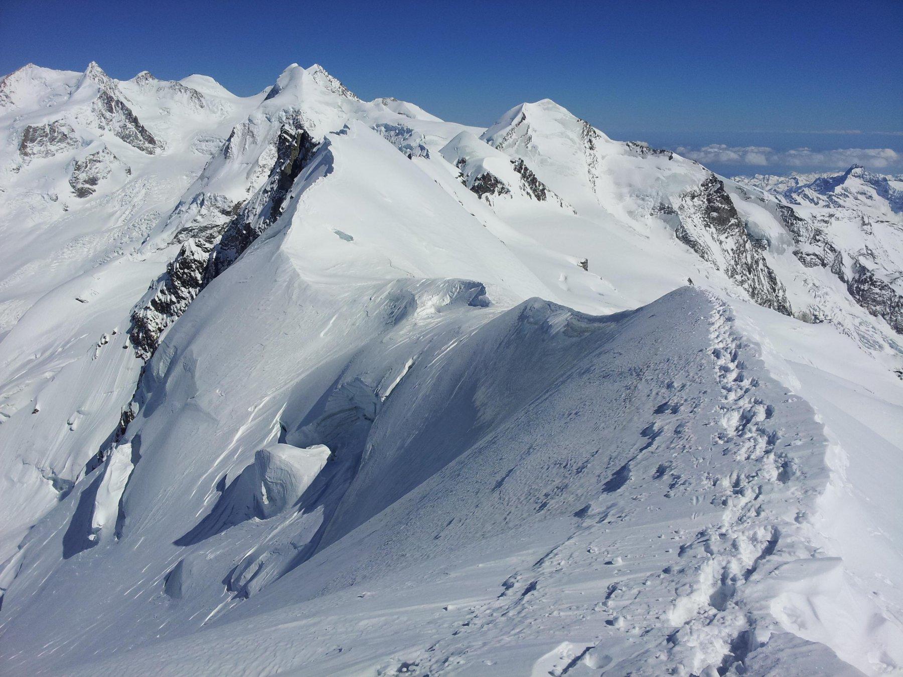 Buone le condizioni anche della cresta verso il Centrale