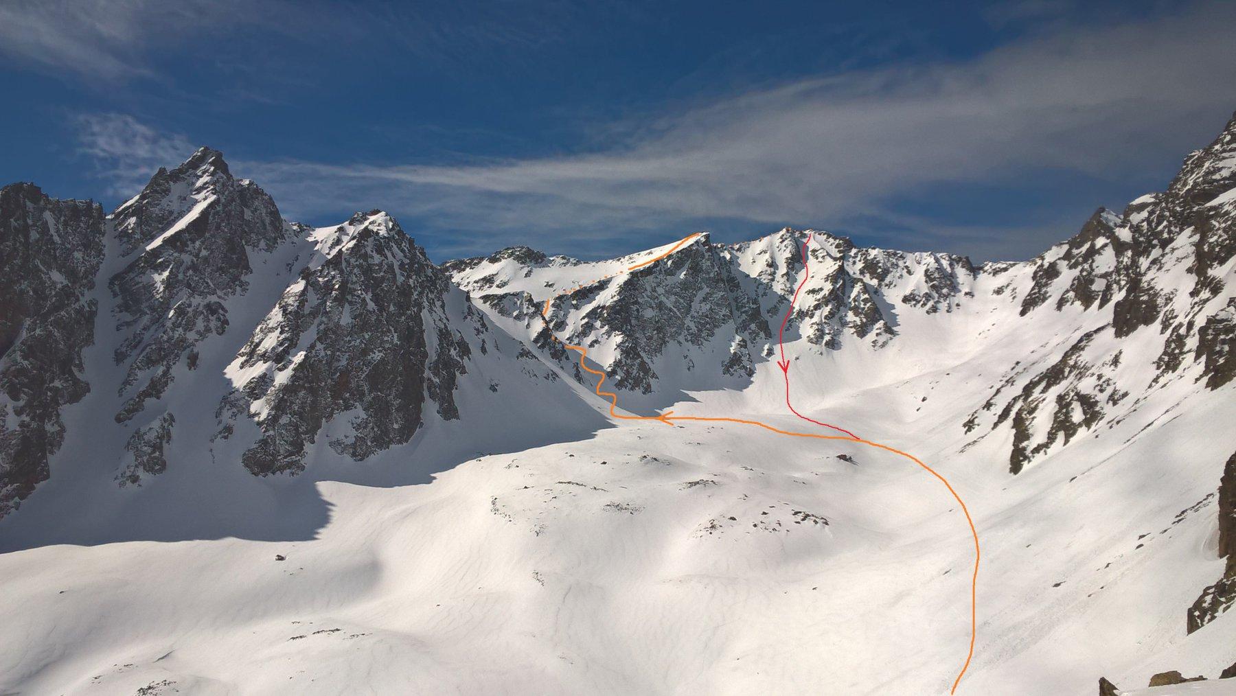 Il percorso visto dal Passo Alto del Vallone
