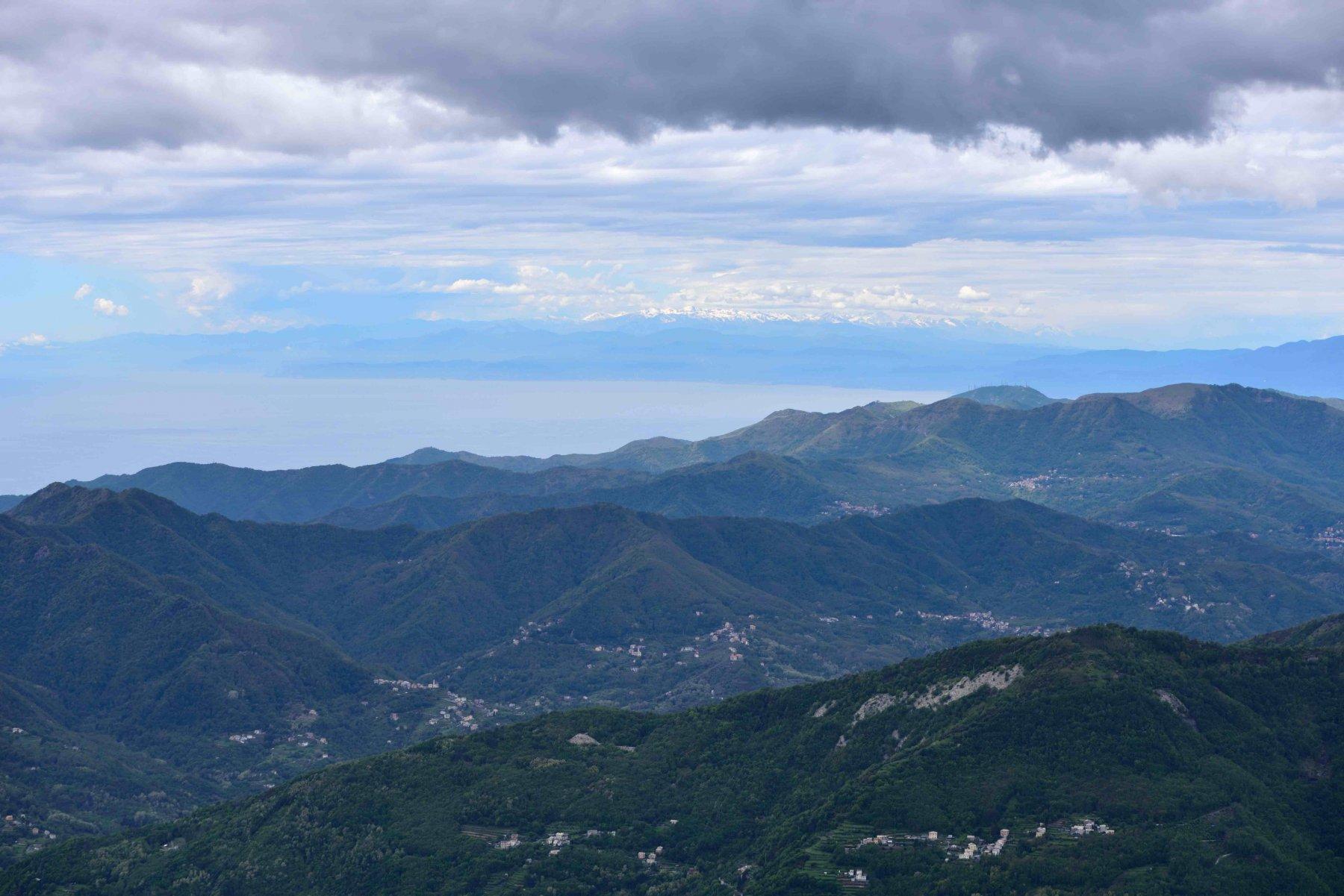 Panorama verso le Alpi Liguri dalla vetta Ovest del Ramaceto
