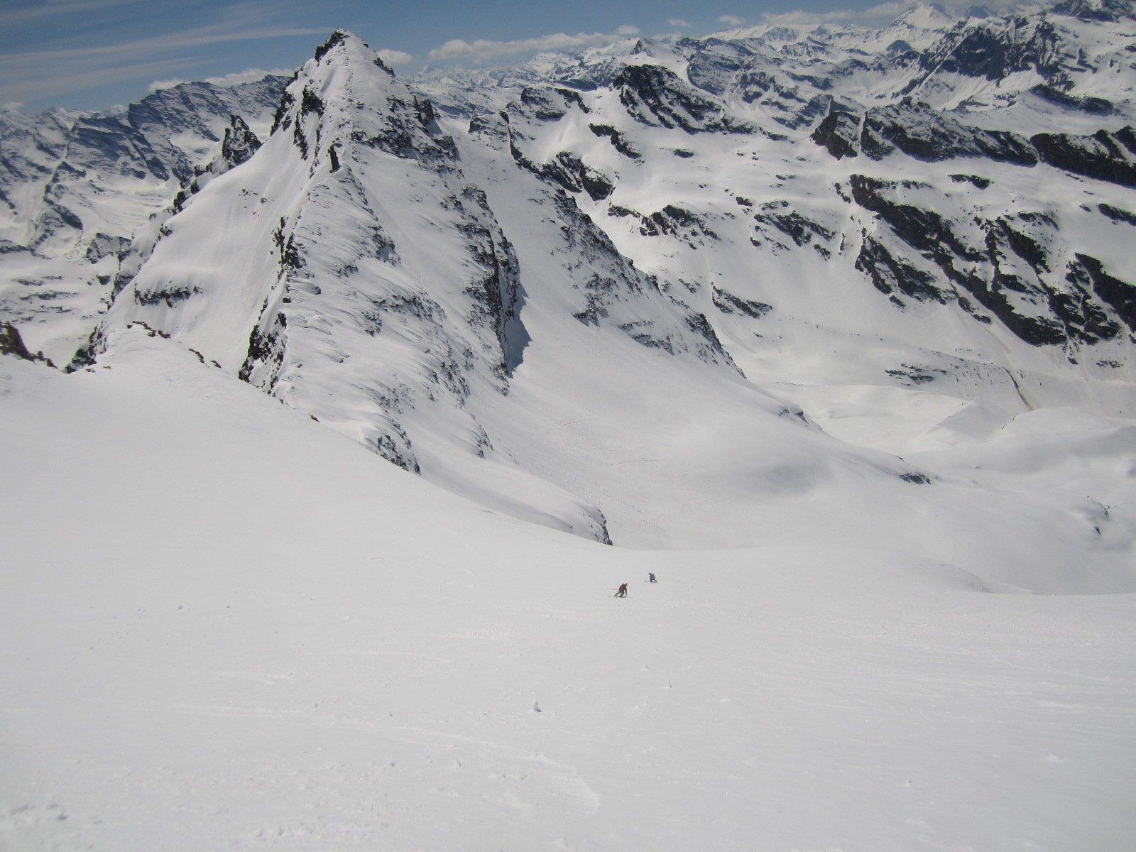 bella sciata lungo la ovest al cospetto della Monciair...