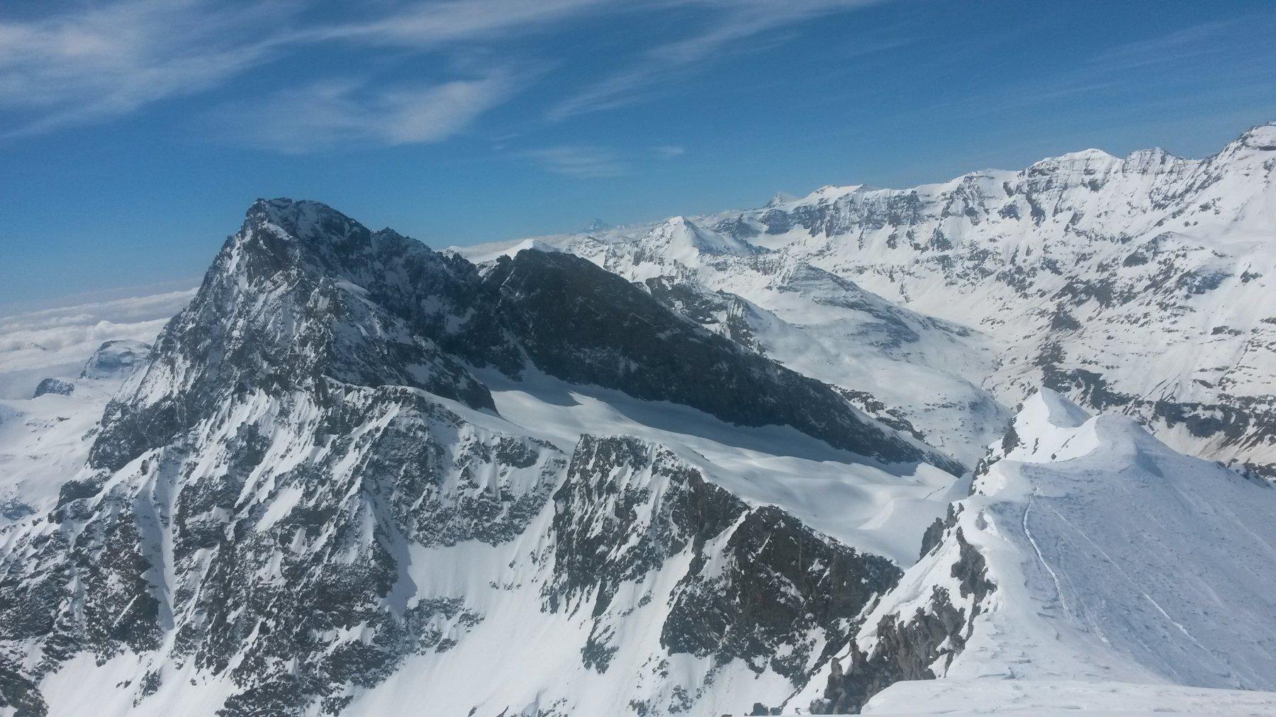 Bessanese dalla cima - si vedono anche il Passage du Collerin e la cresta percorsa dai francesi