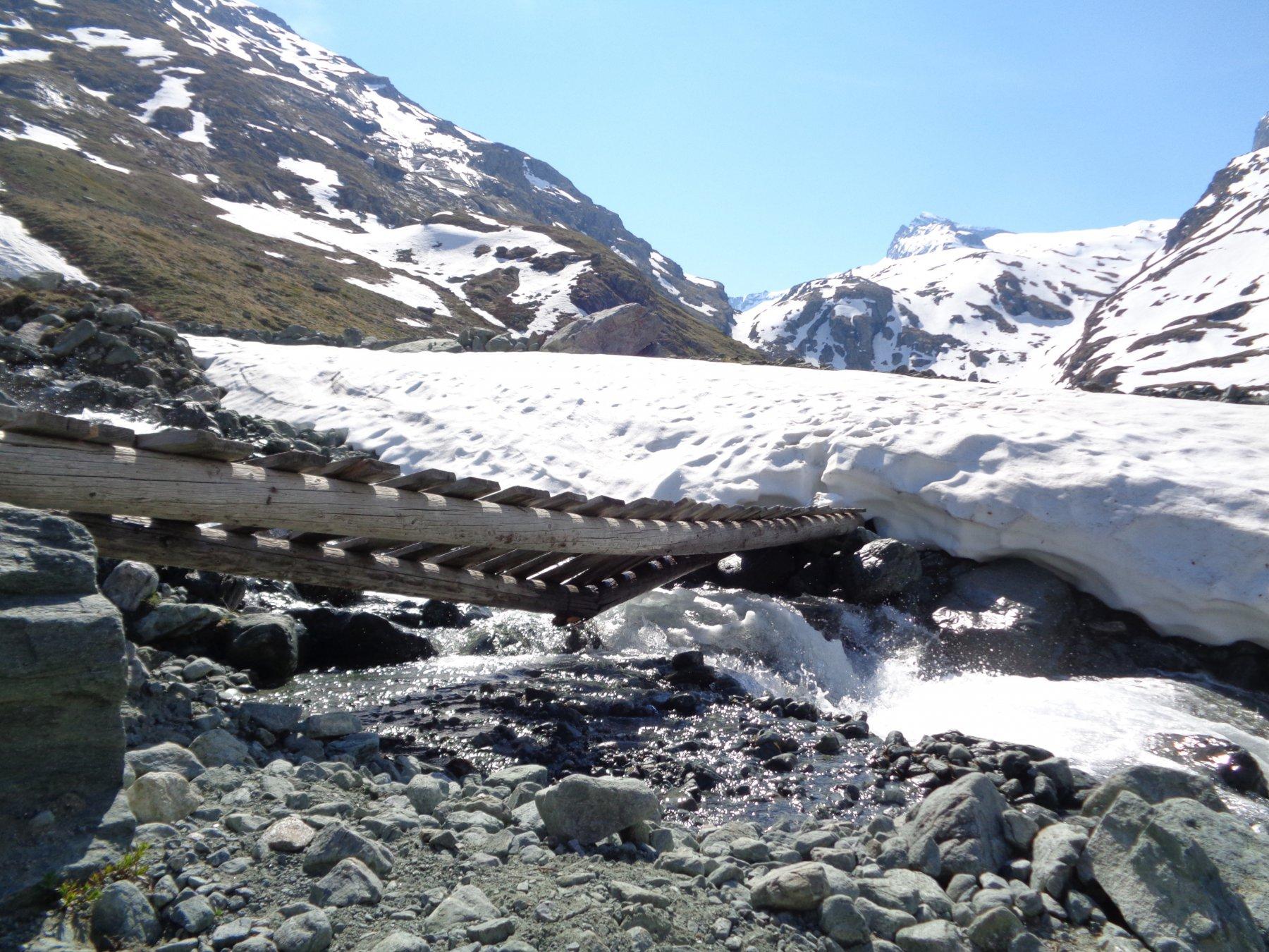 il solito ponte per guadare il torrente che scende dal Colle della Bessanese è impraticabile