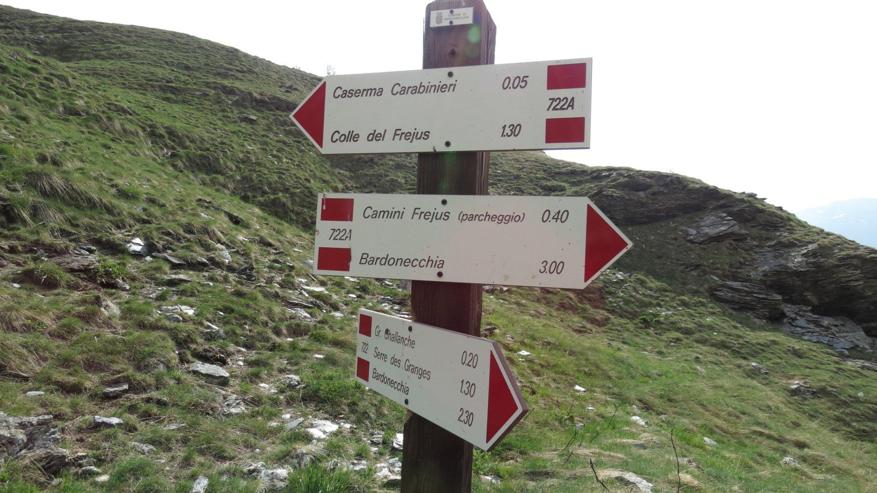cartelli indicatori nei pressi dell'ex-caserma dei carabinieri nel Vallone del Frejus