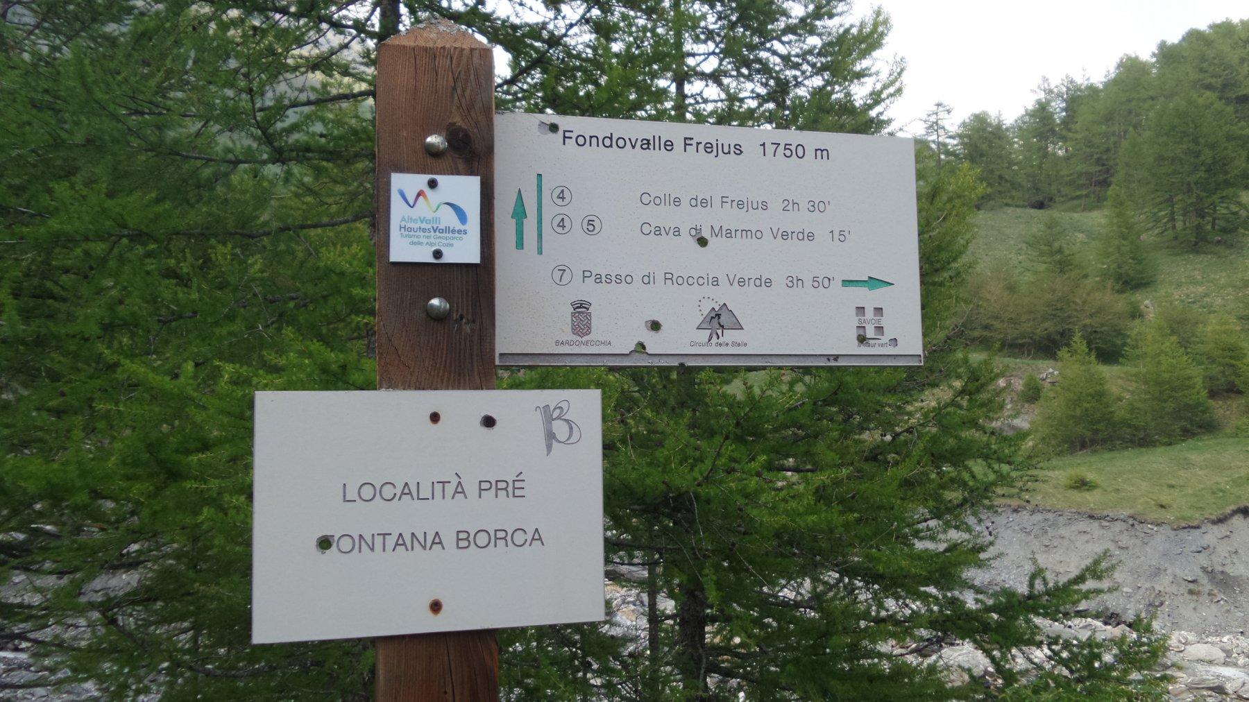 cartelli indicatori a Prè di Fontana Borca, il punto di partenza