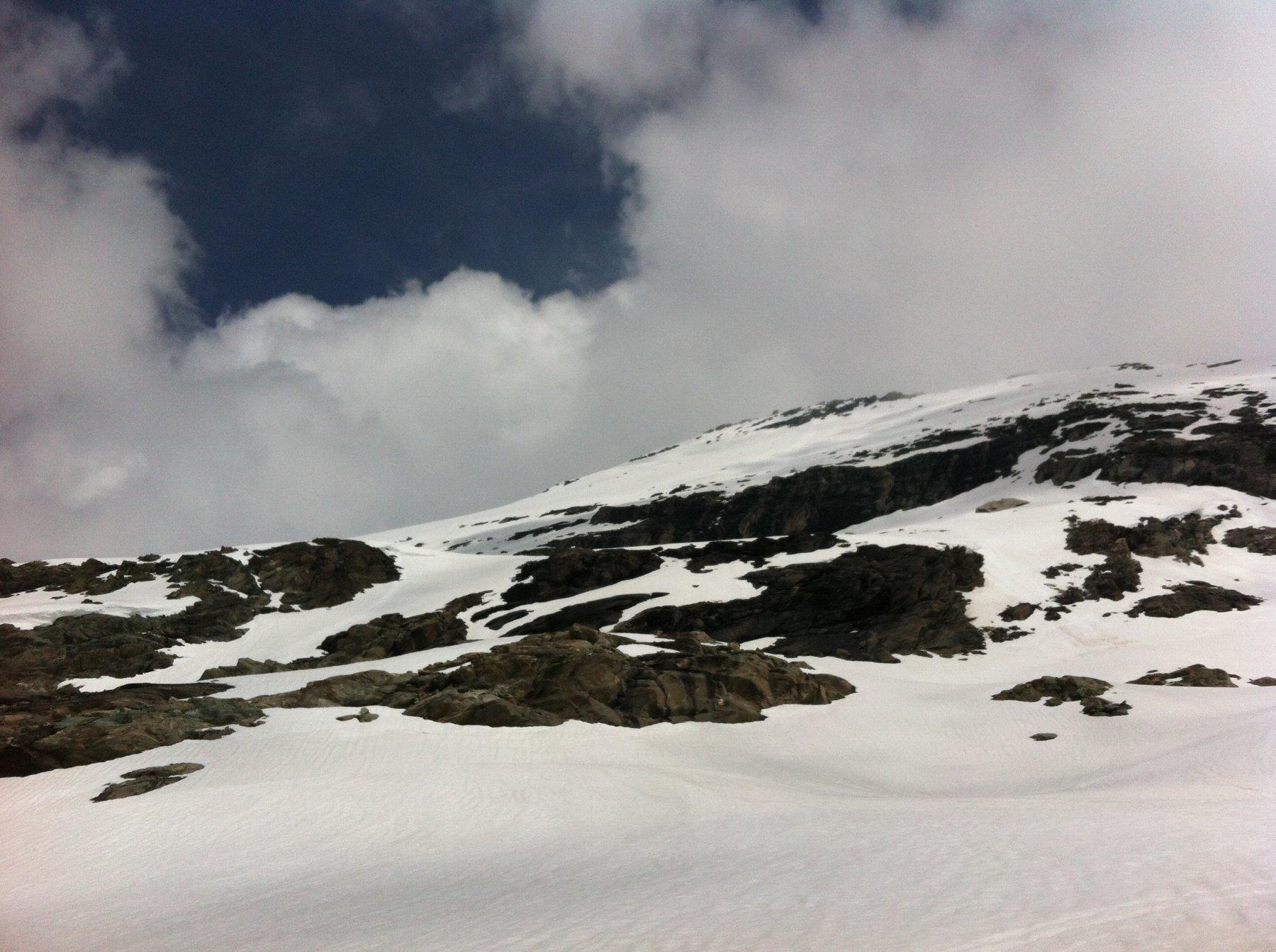 parete Sud-Il salto roccioso da aggirare a sinistra