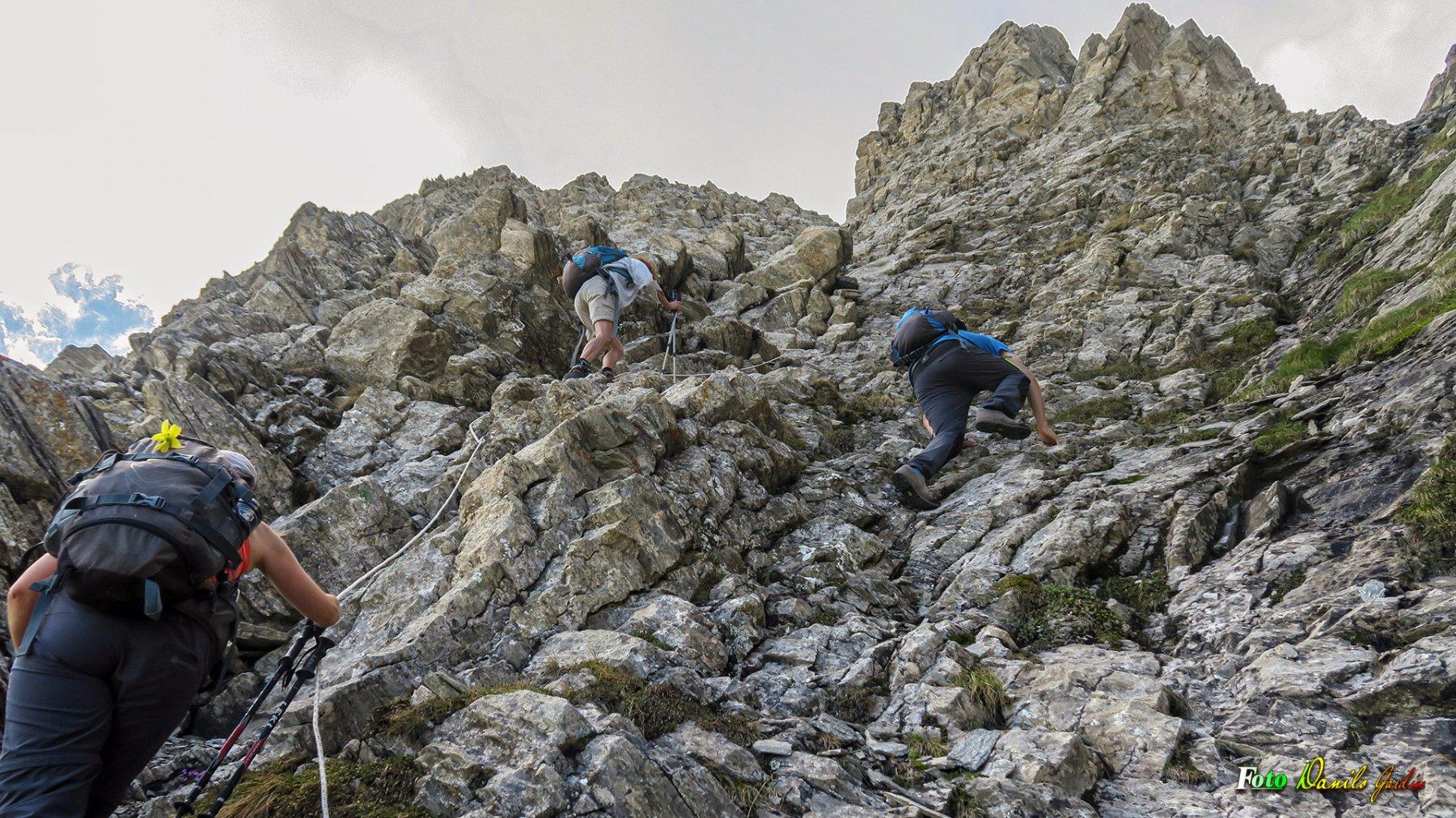 La salita al Passo del Ciat 2640 m