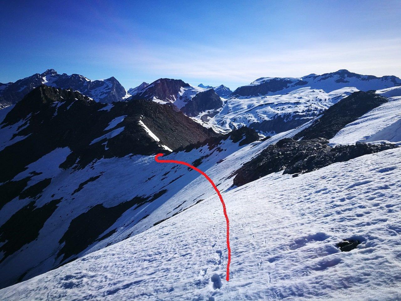 08 - Dalla cresta sotto la Pointe de l'Arselle il percorso fatto dal Col de la Calabourdane