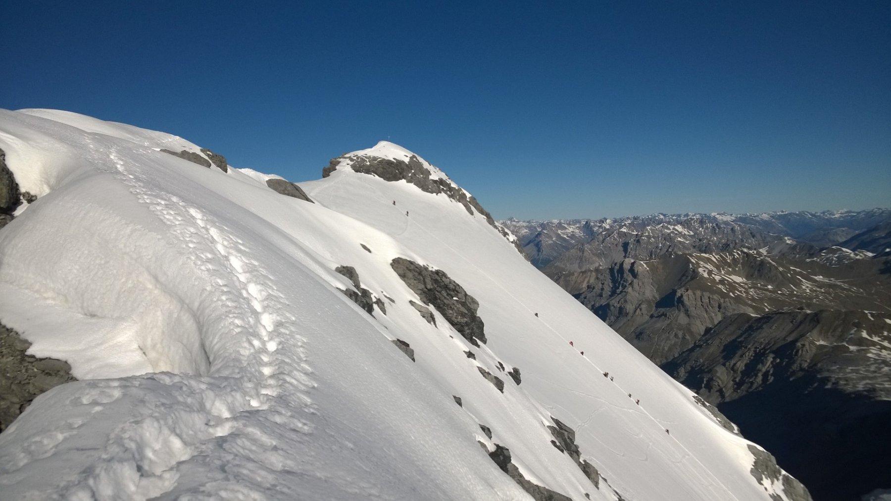 Monte Cristallo: vista della parete Nord percorrendo la Cresta Est