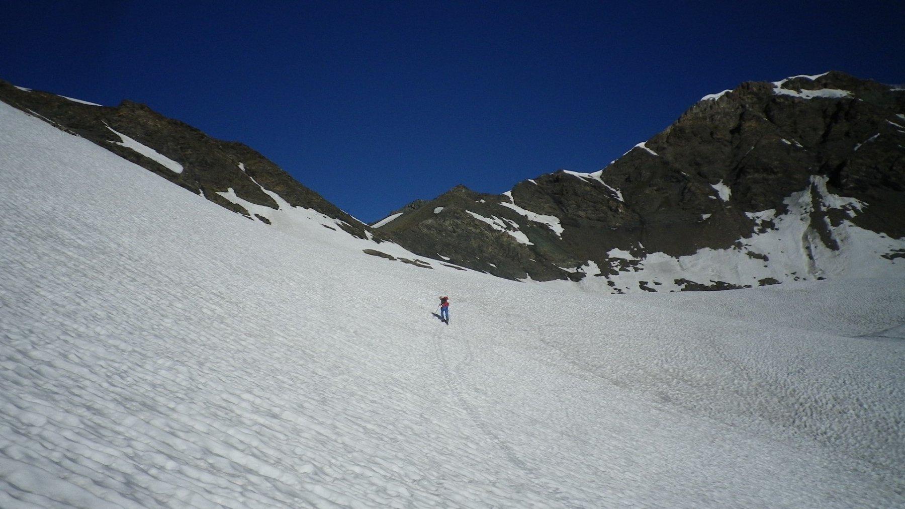 Sull'ancien glacier de la Jave. In alto a Dx il Pelaou Blanc.