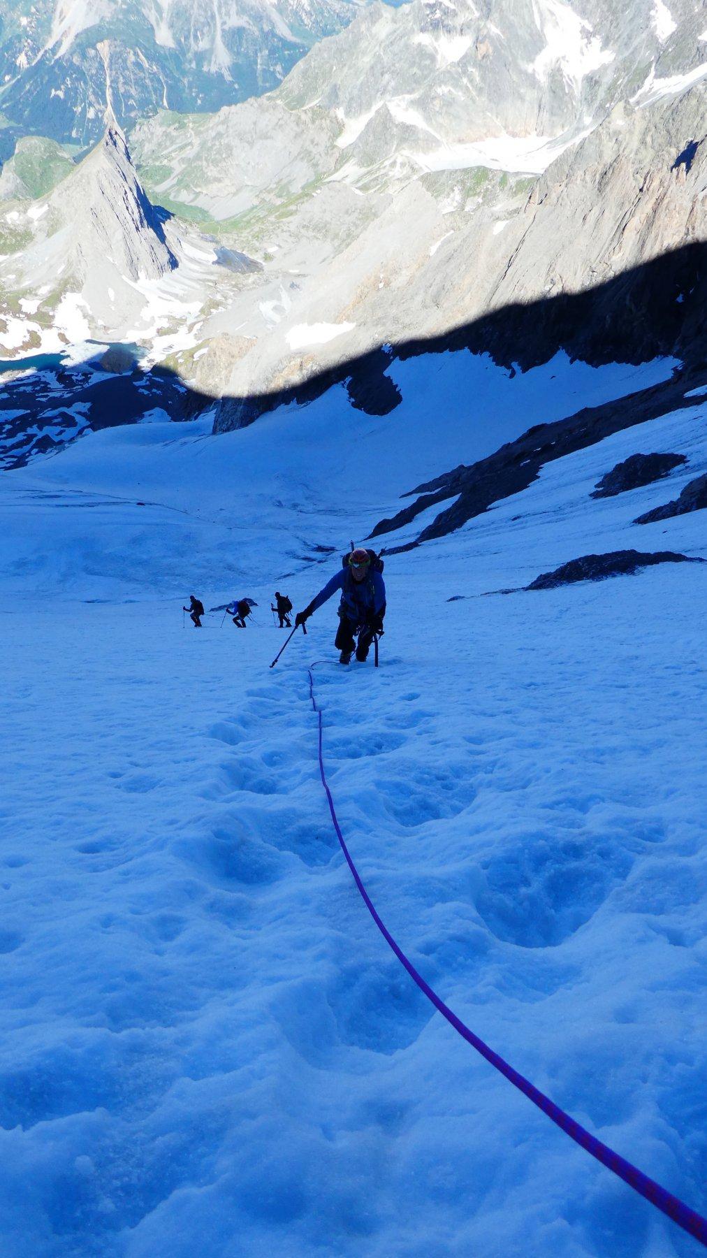 nel tratto più ripido del Glacier des Grands Couloirs