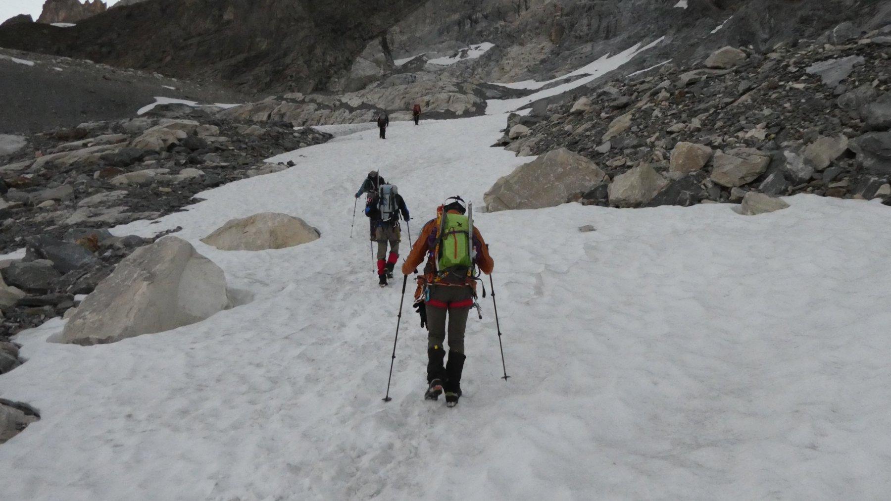 avvicinamento al Glacier des Grand Couloirs