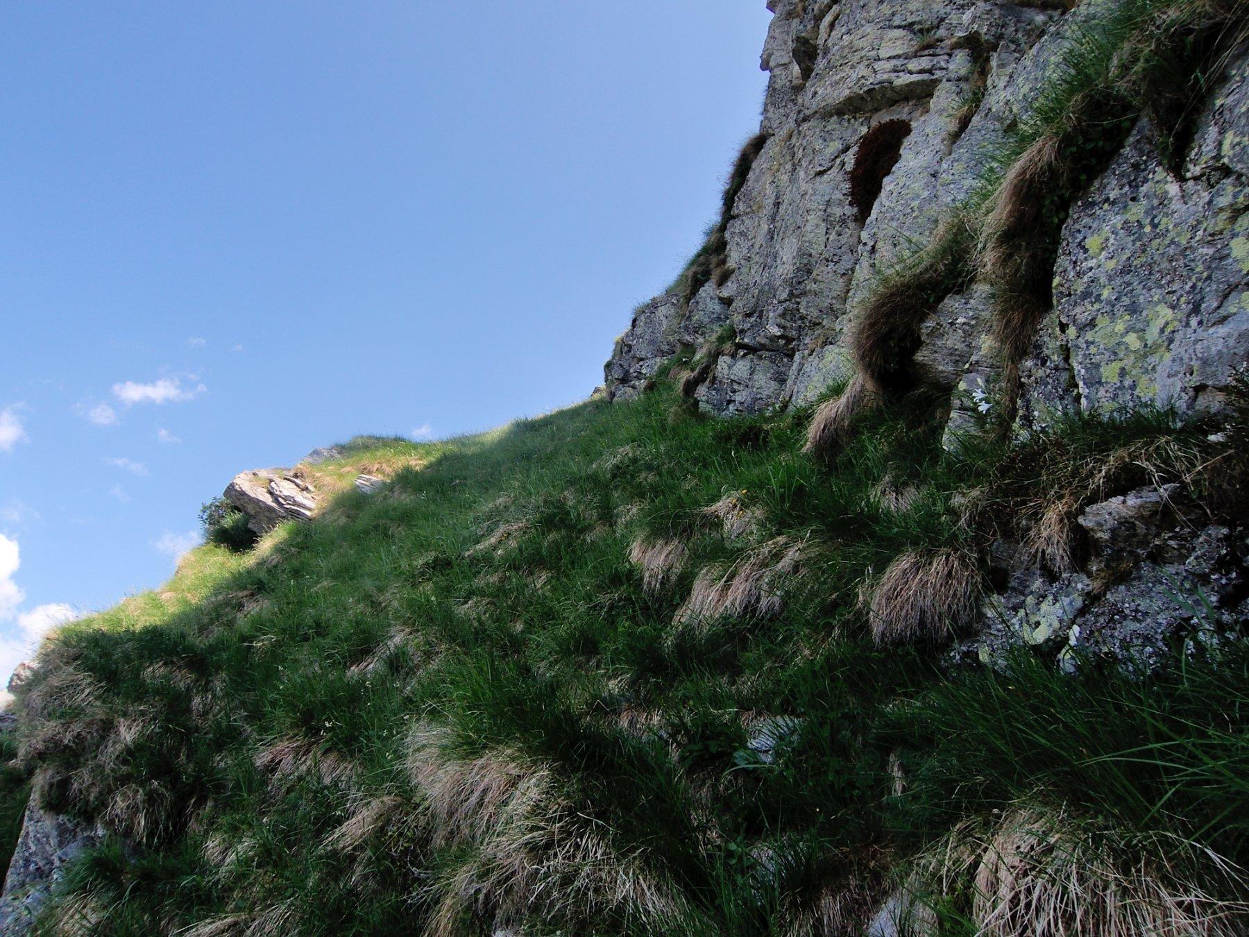 Cengia inclinata verso la cresta Nord-Ovest