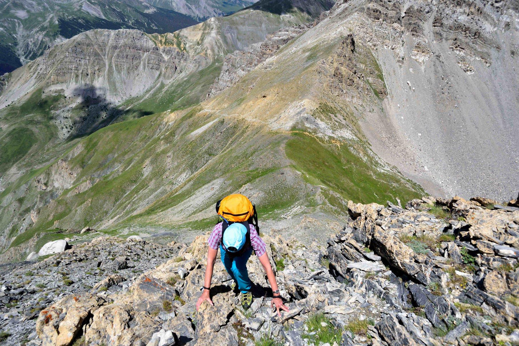 Roccette risalendo la cresta NO del Giordano