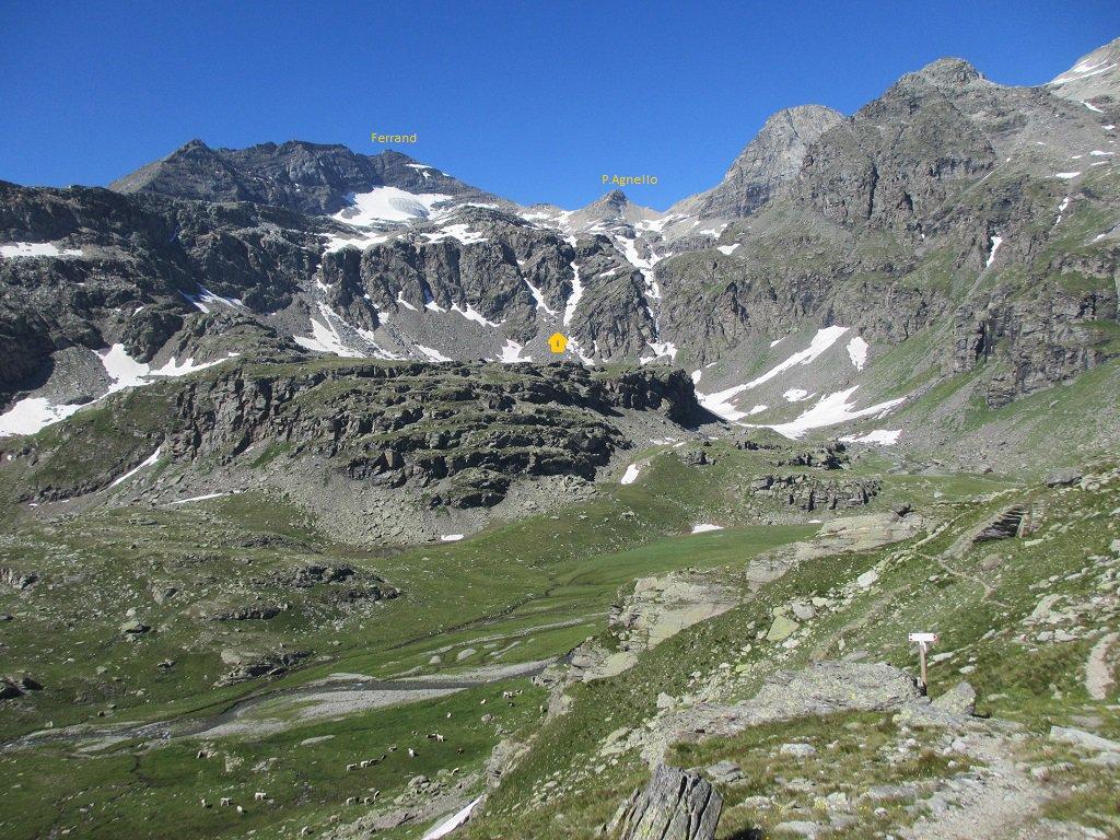Panoramica dal colle Clapier, salita del canalino al ghiacciaio Agnello nord