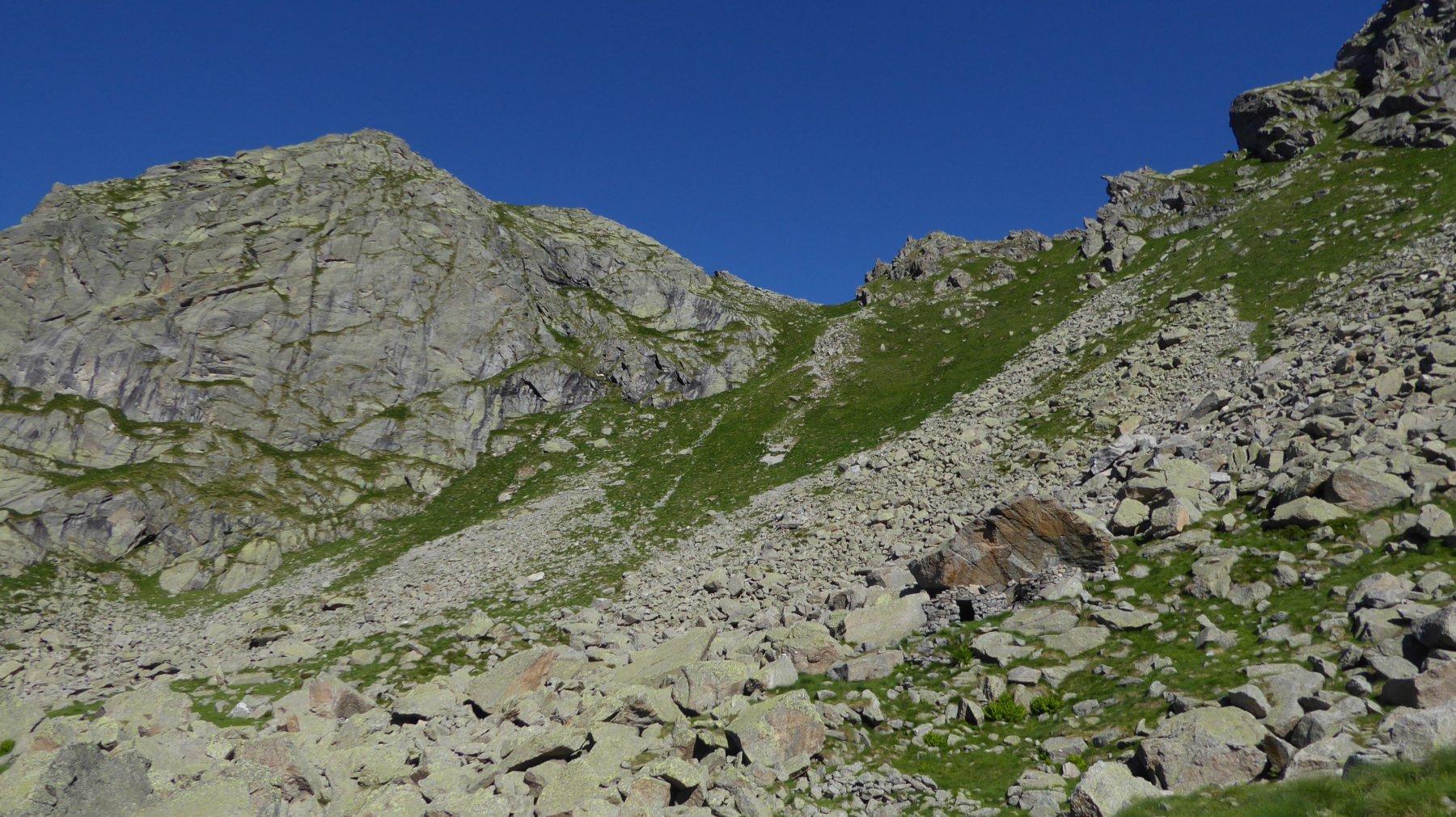 Sotto il masso, l'Alpe Destrera piccola, sopra il Passo e il Monte Destrera