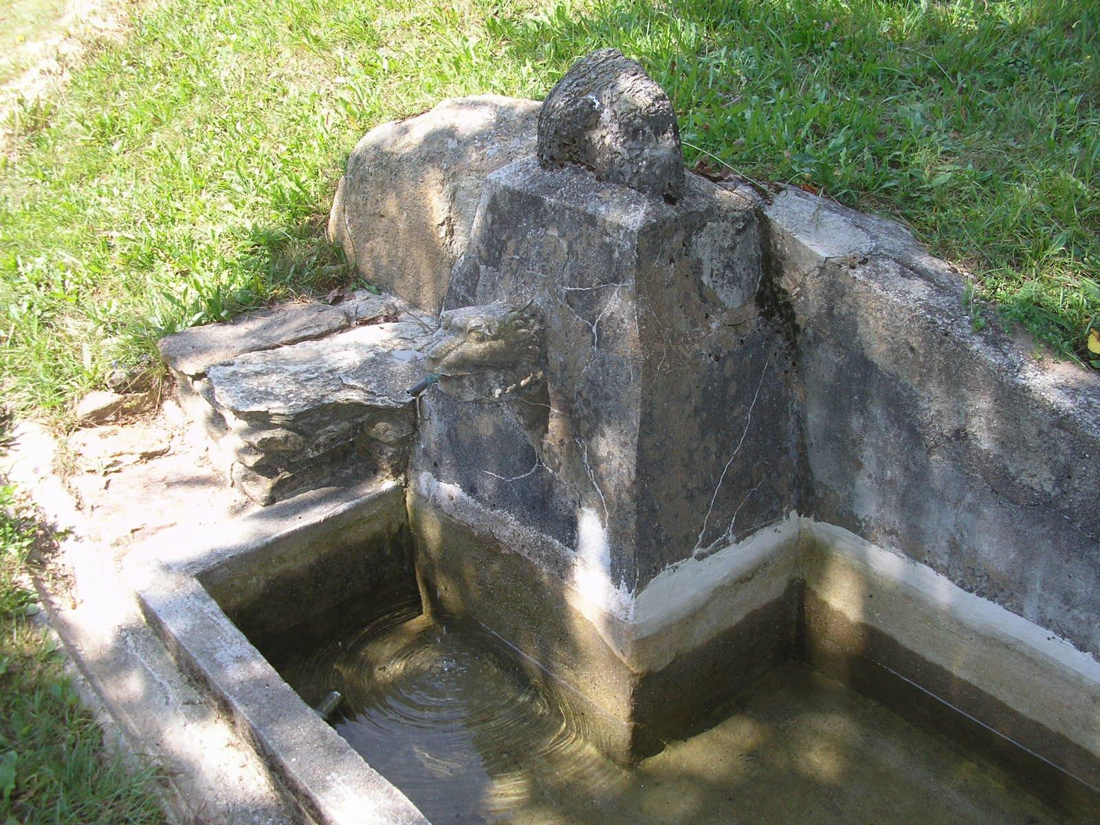 Fontana in pietra con protome leonina