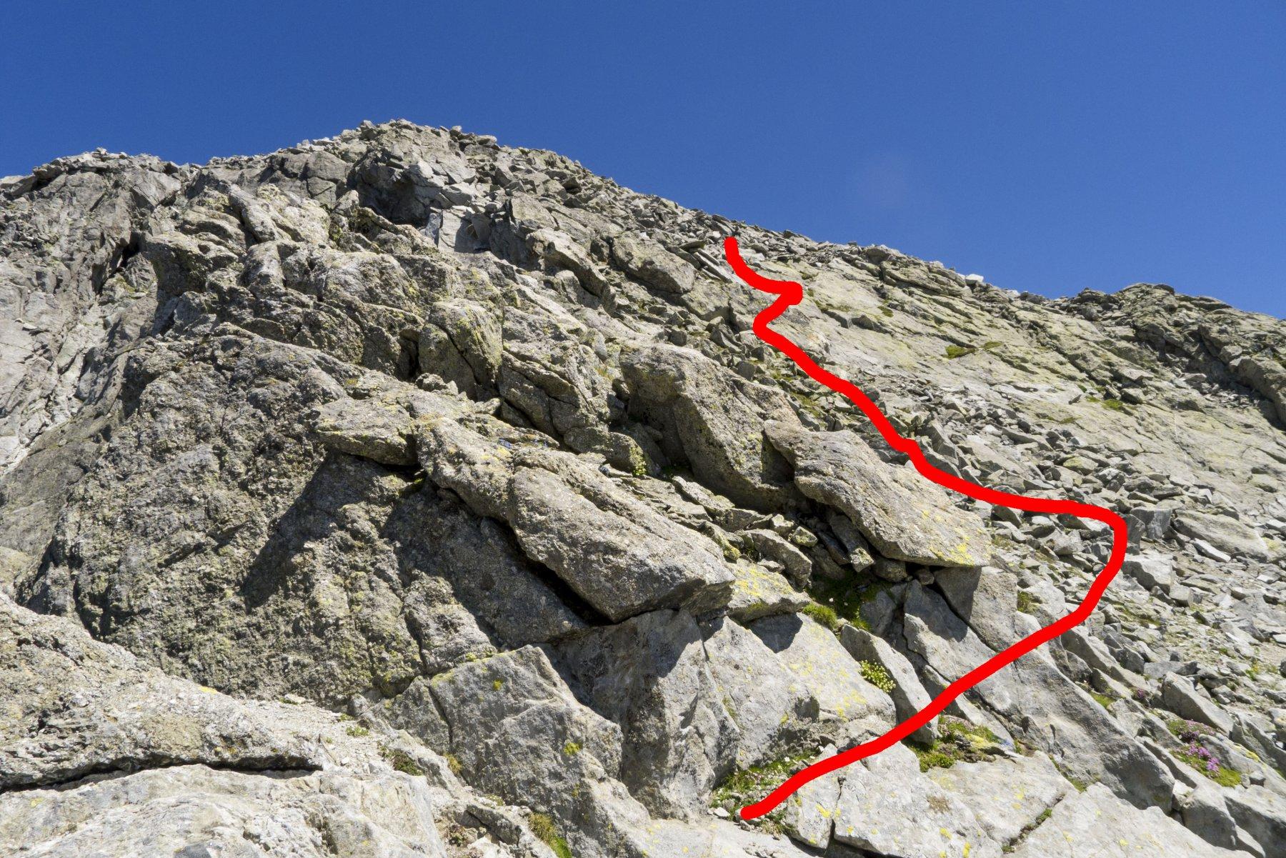 dal passo Porcellizzo sud verso la cima (nascosta), ultimi 150m