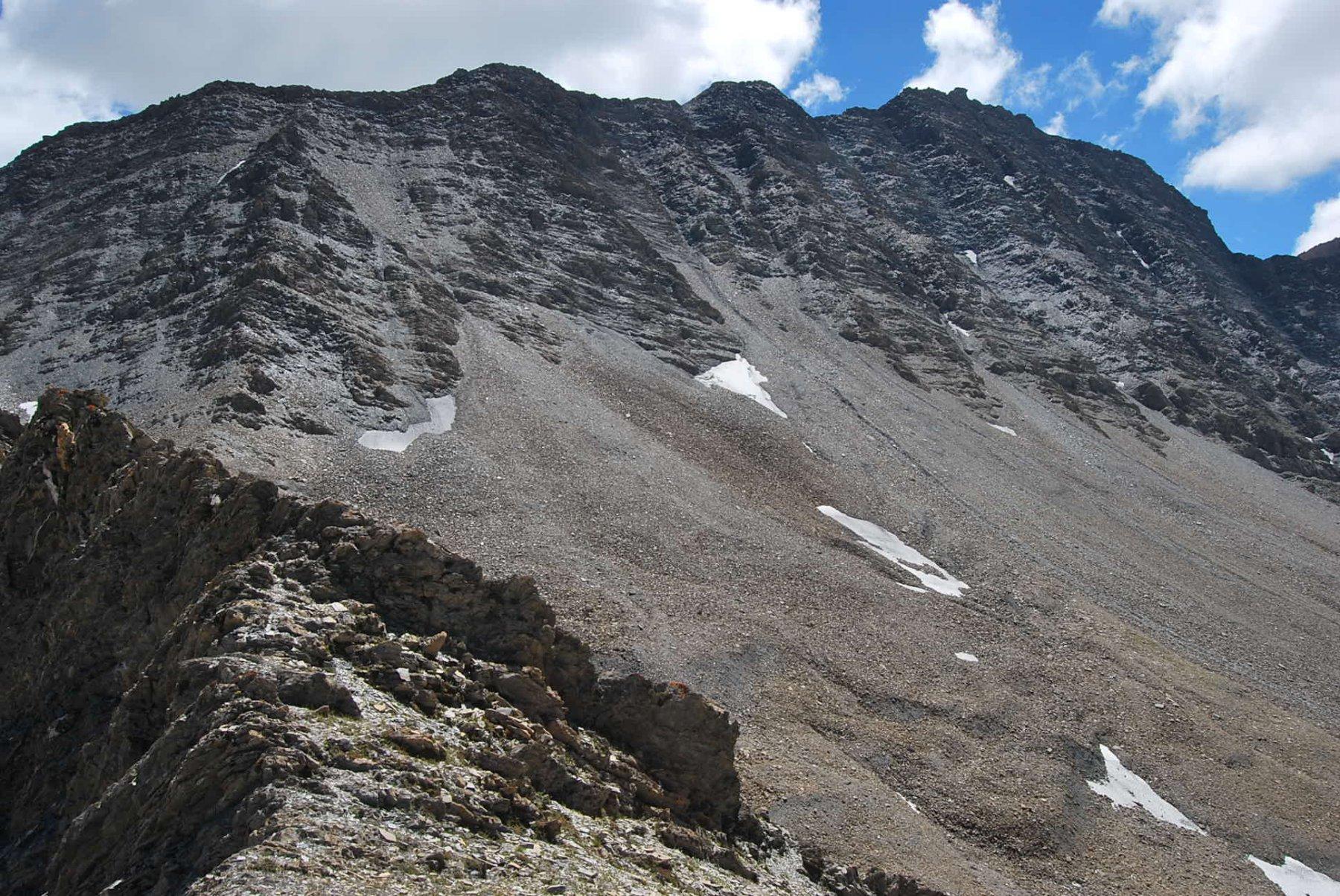 Il punto d'arrivo, salendo dal Col de la Siegne, quasi a ridosso della cresta che congiunge il Col Chavannes con la Lechaud