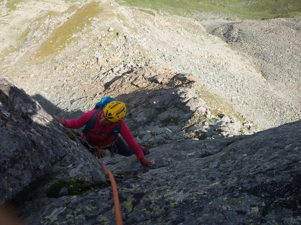 Il primo diedrino appena si incomincia ad arrampicare