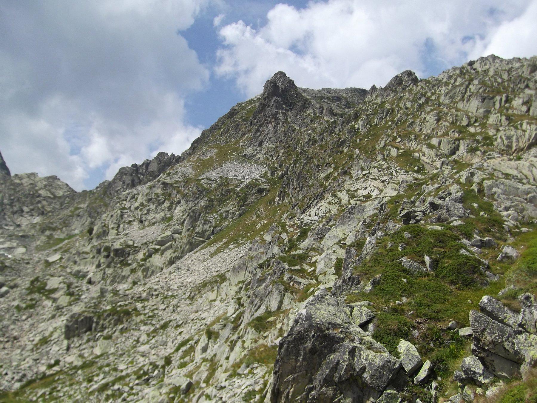 I ripidi pendii che portano verso il Frisson.