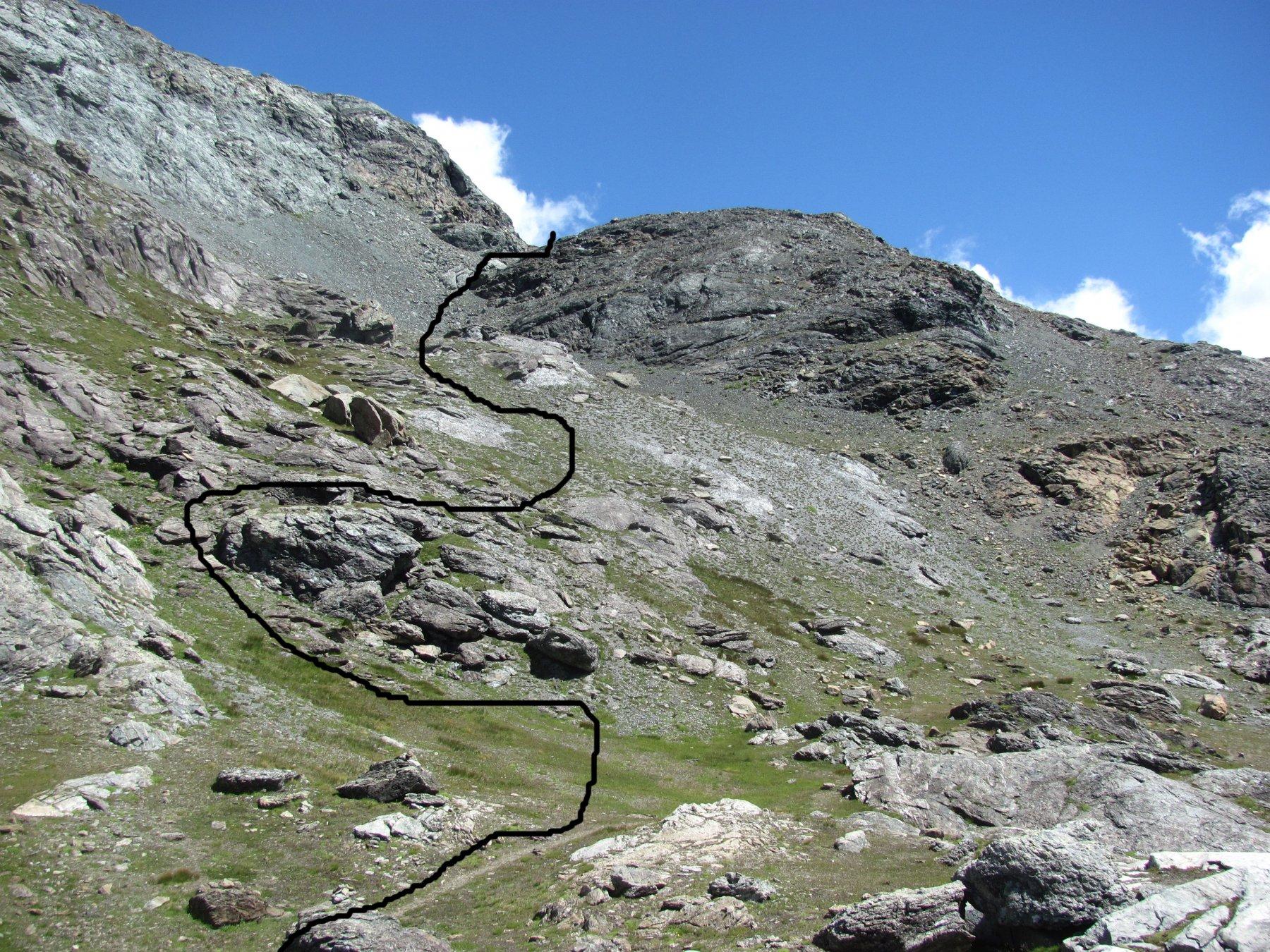 traccia indicativa della deviazione a sin. prima del pianoro a 2700 m.