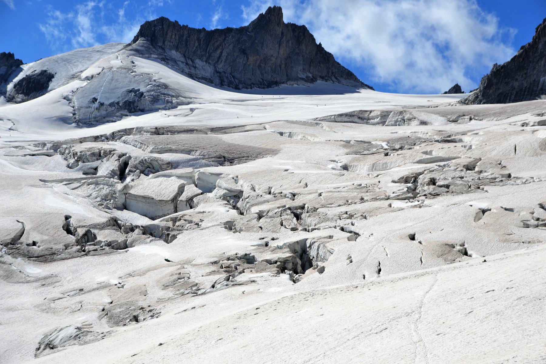 La Vallée Blanche, zona crepacciata da attraversare