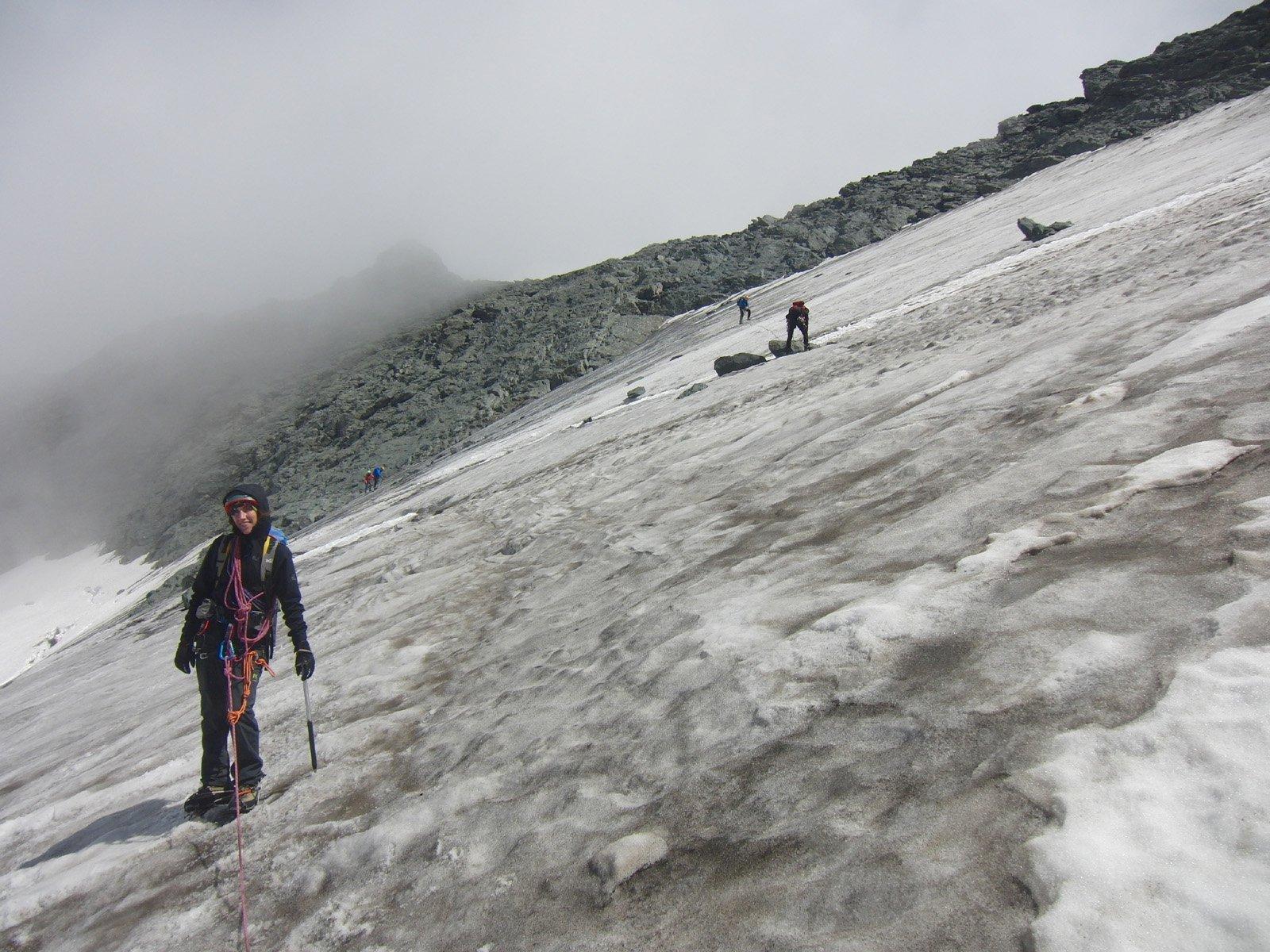 Inizio tratto sul ghiacciaio