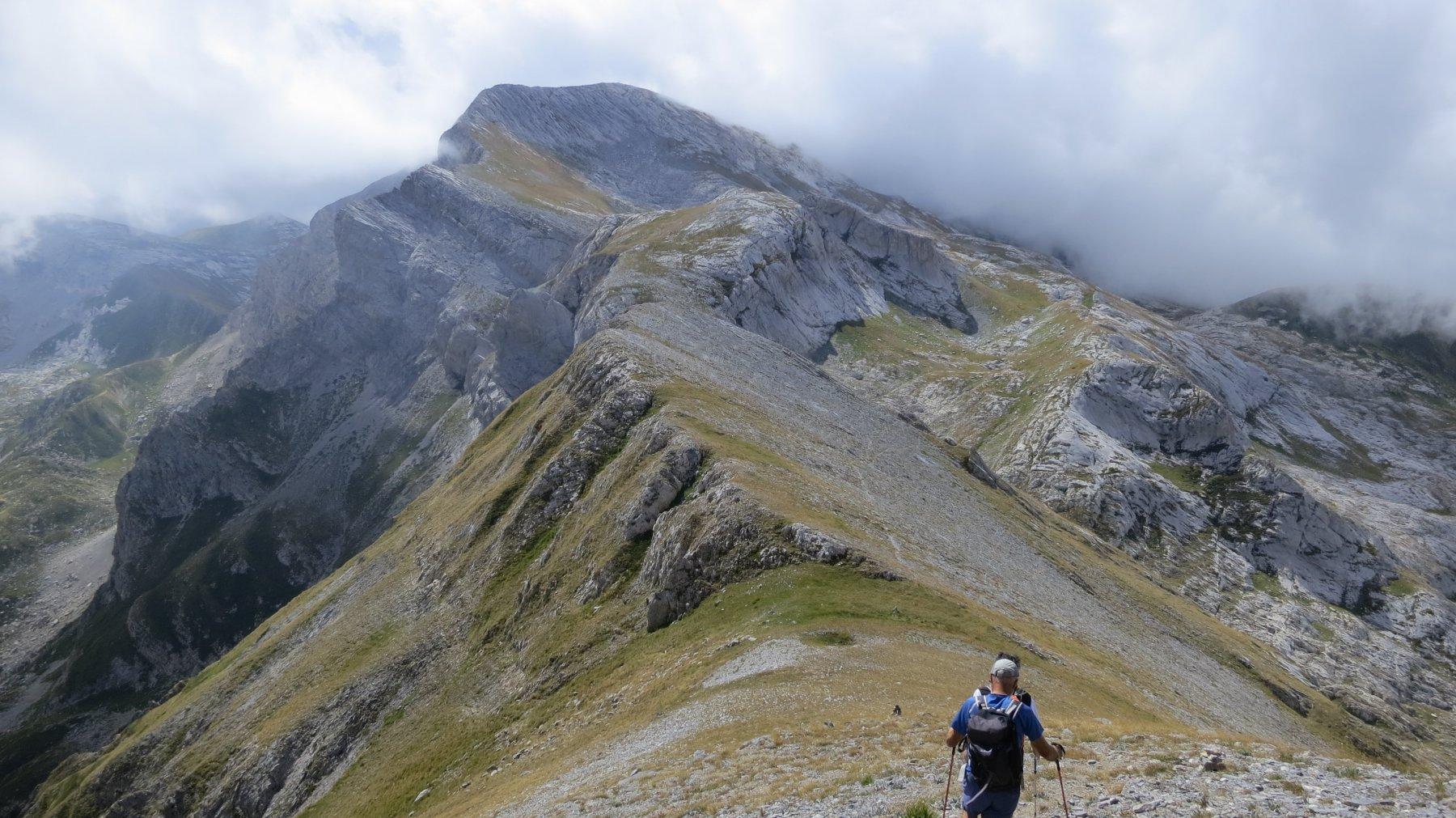 Da cima Brignola si vede a Sud la cresta del Mongioie e la leggera traccia che scende alla conca erbosa alla sua destra