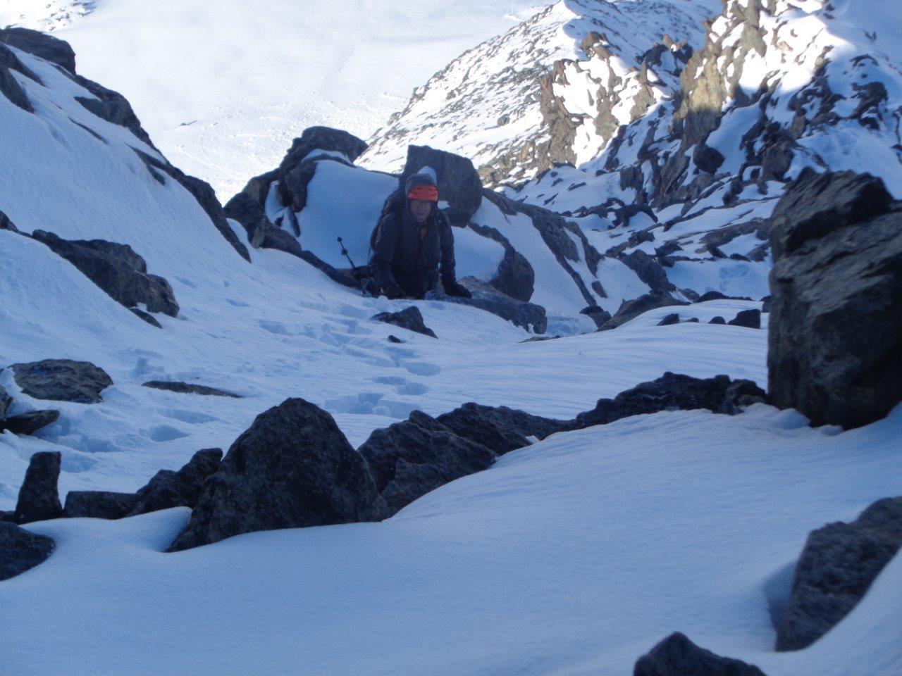 Salendo sulla cresta per raggiungere q. 4001