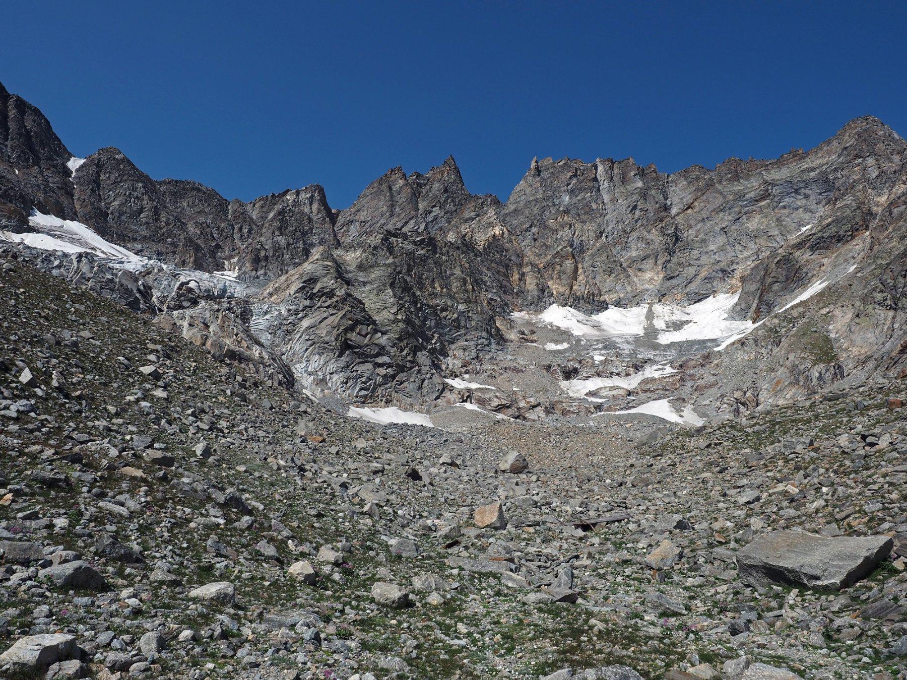 I ghiacciai del Mulinet visti dal fondo della morena nei pressi dell'ex bivacco