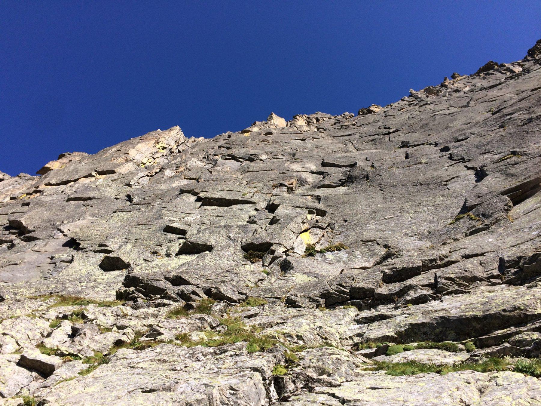 La parete vista dalla cengia mediana