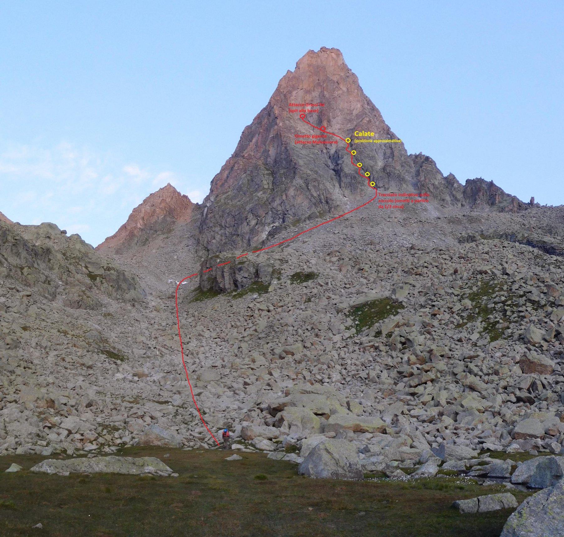 In rosso la linea di avvicinamento (tracciato approssimativo sullo zoccolo), in giallo la posizione (approssimativa) delle soste di calata