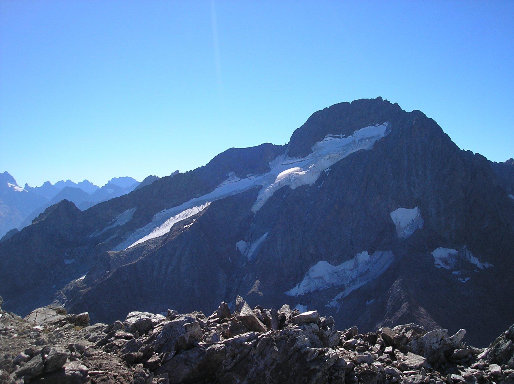La Roche de la Muzelle con il ghiacciaio dalla vetta