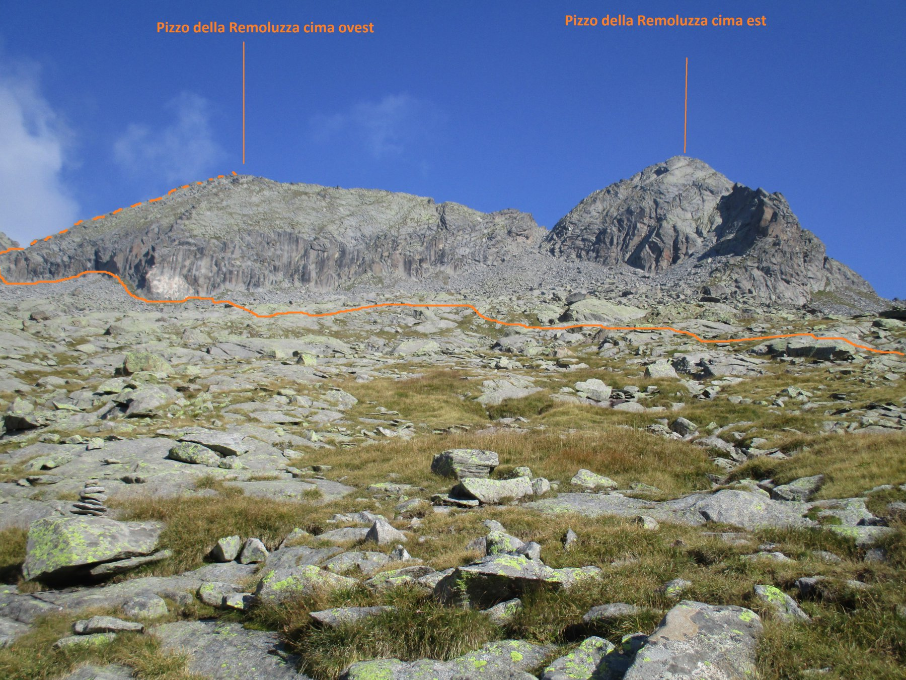 Remoluzza (Pizzo della), cima Ovest dall'Alpe di Preda Rossa per il Versante S e Cresta O 2017-08-25