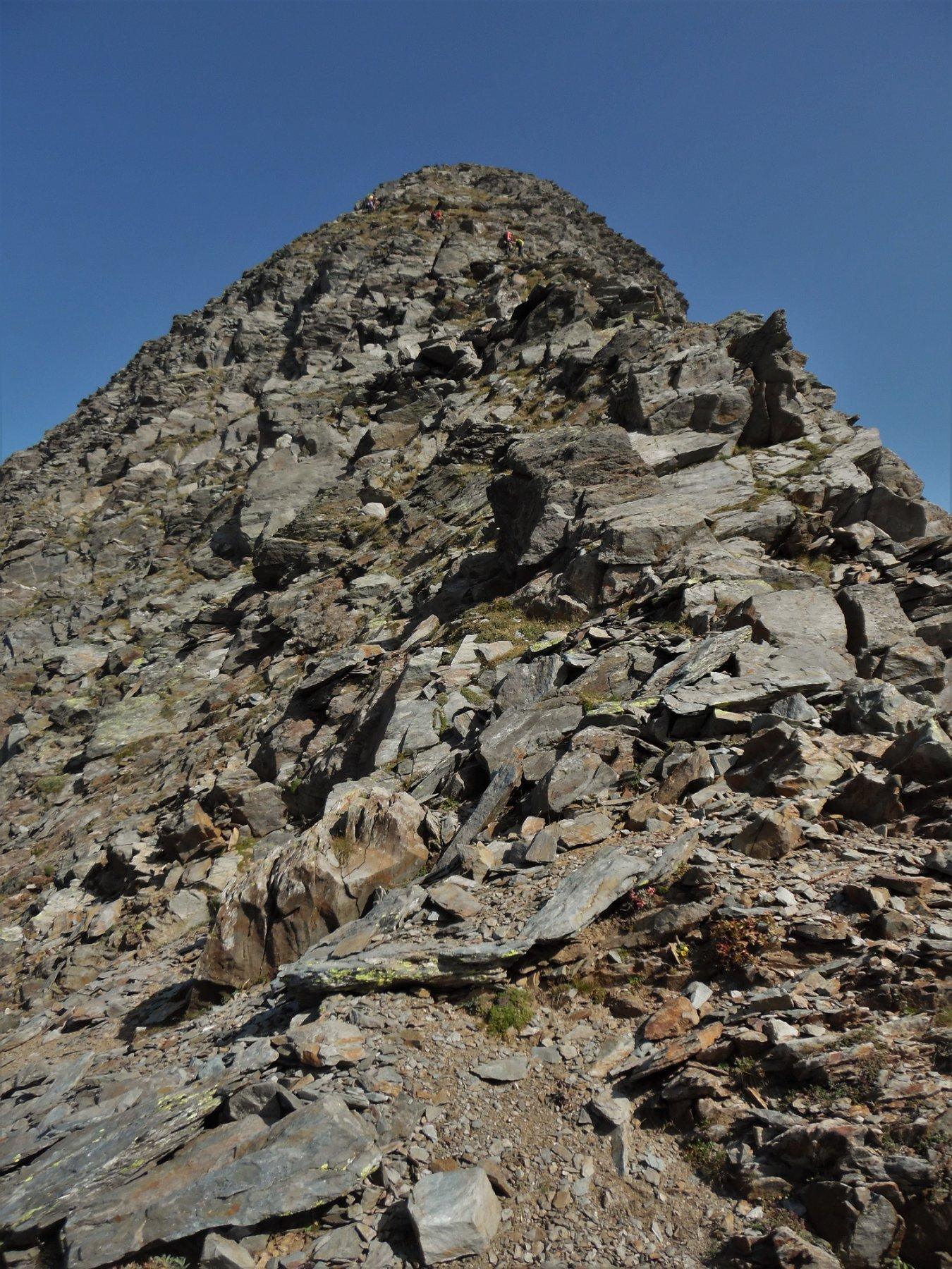 Crinale di rocce rotte ed erba del Pizzo Brunone valtellinese