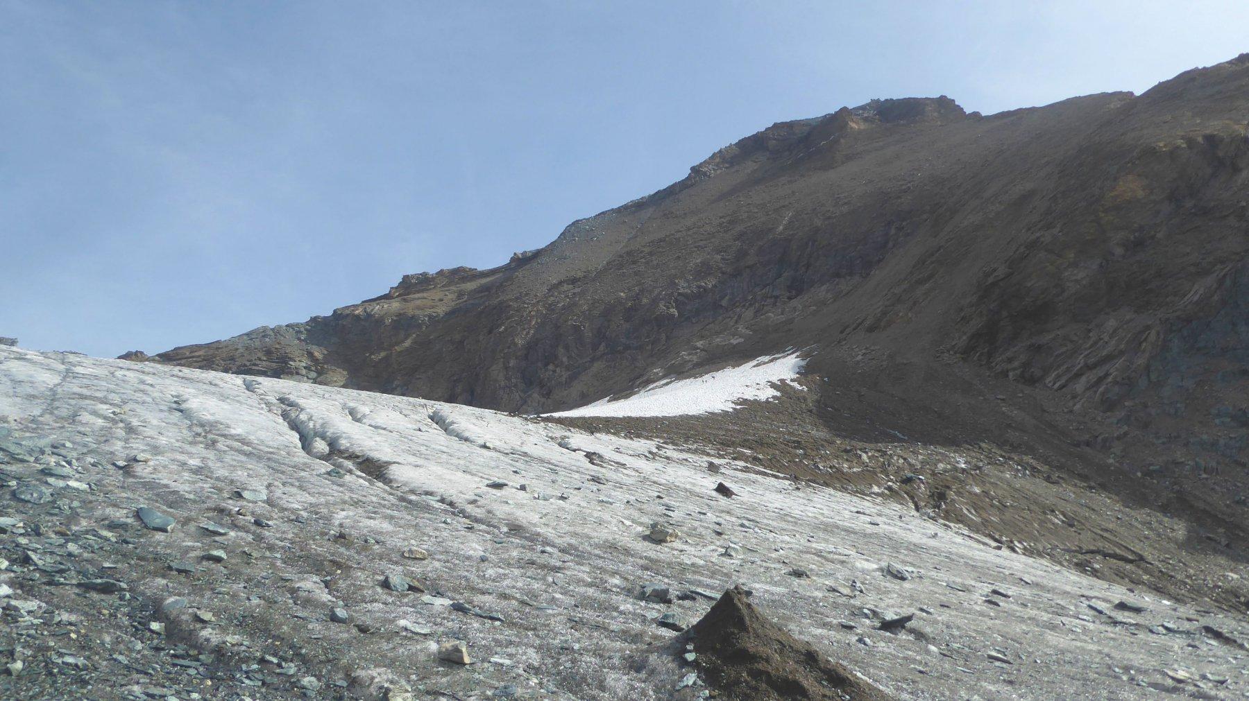 su quello che rimane del ghiacciaio