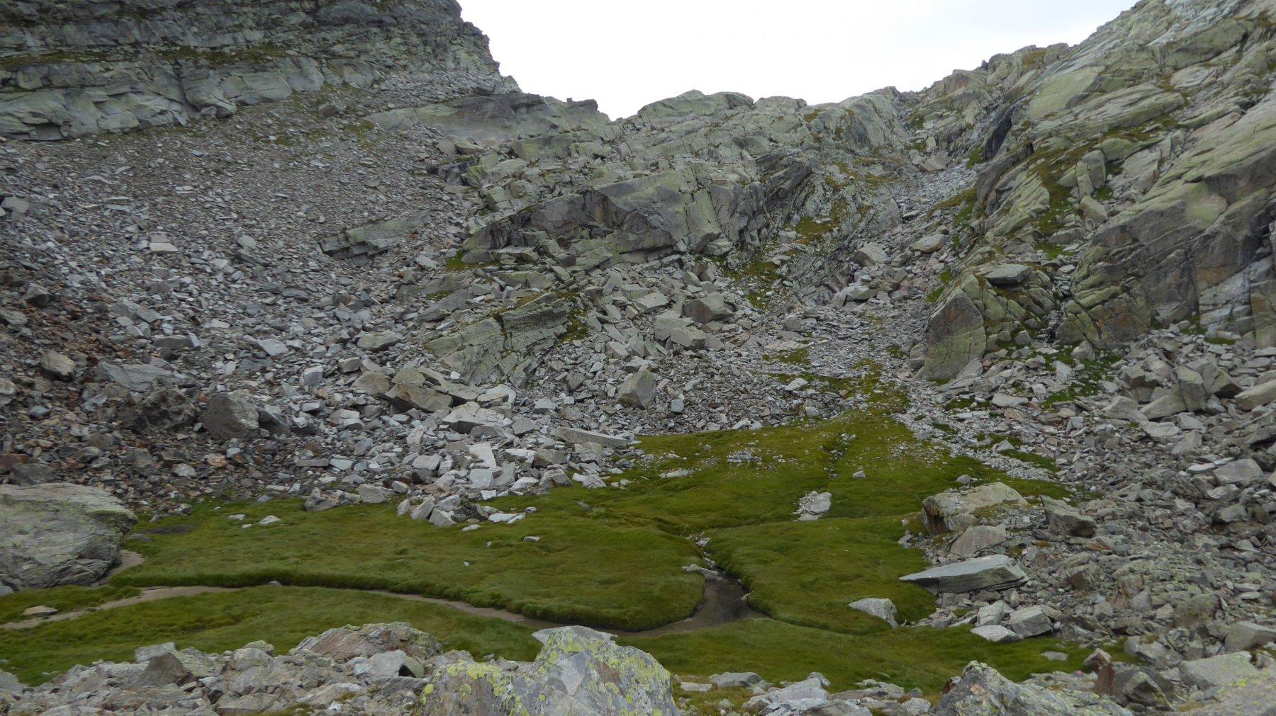 La conca erbosa, da cui inizia la salita fuori sentiero