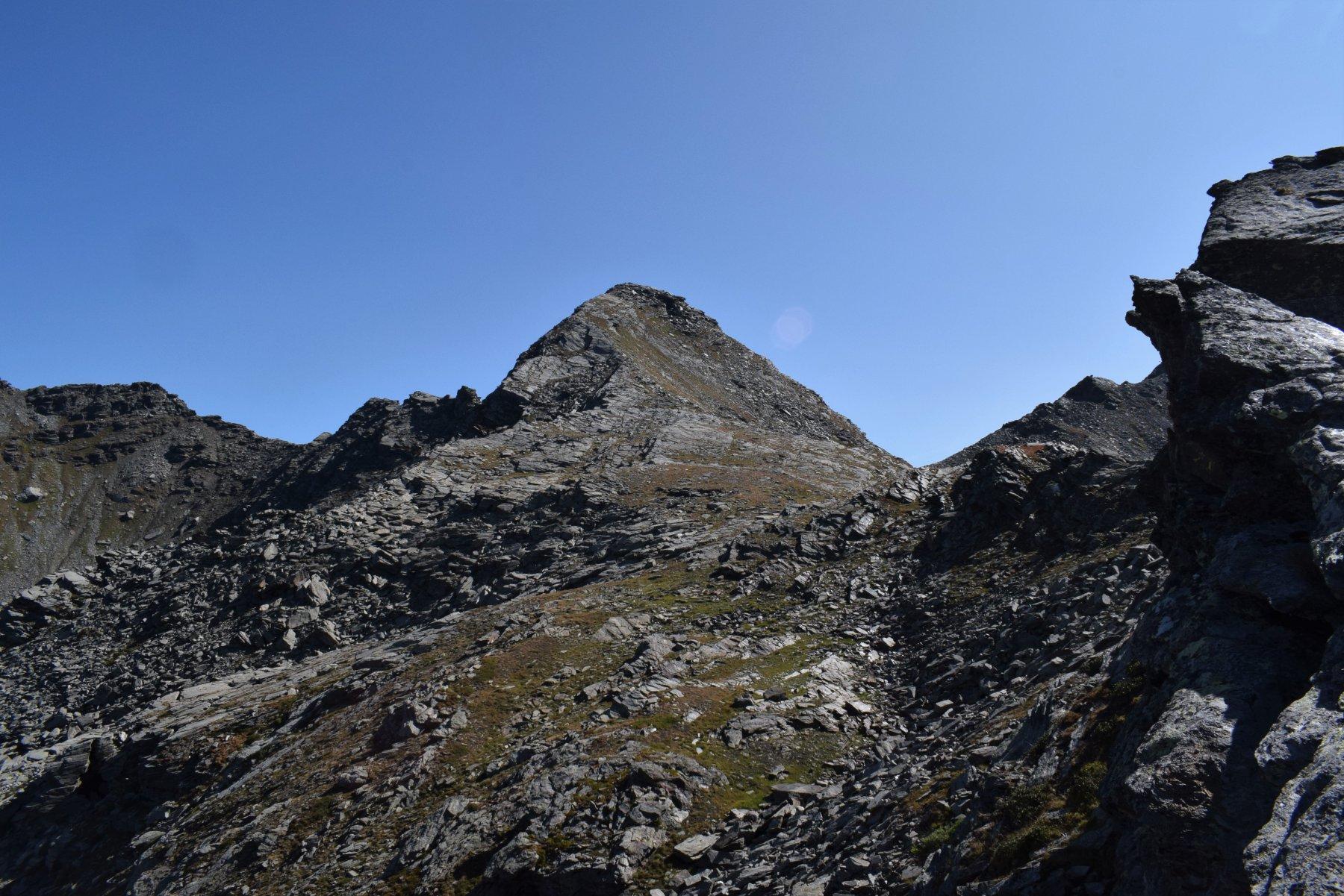 la punta Founset con il pendio di salita