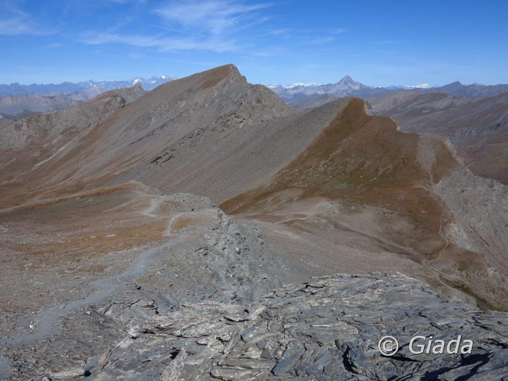 Il sentiero di salita e al centro il Col de Chamoussiere