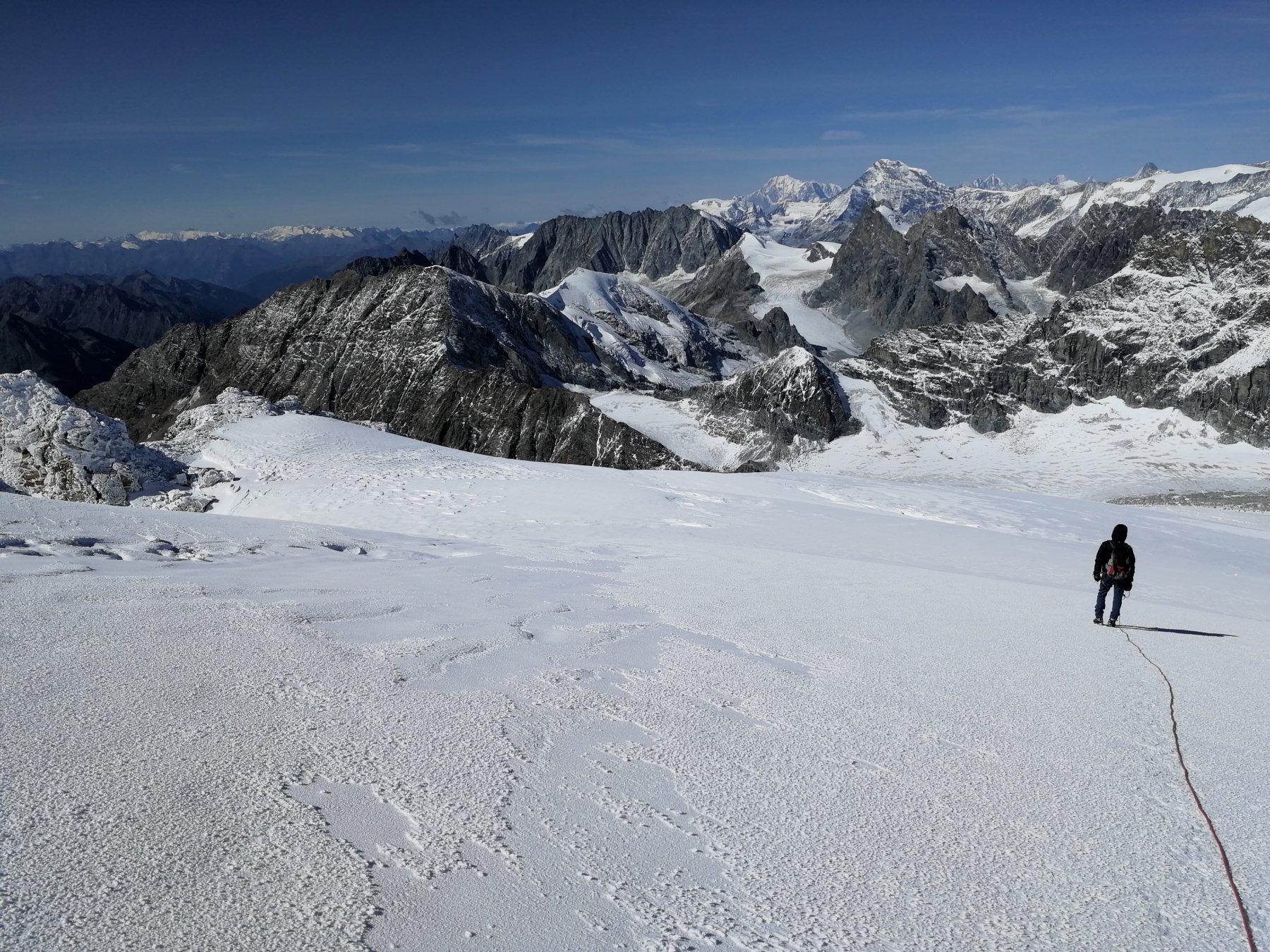 Scendendo sul ghiacciaio