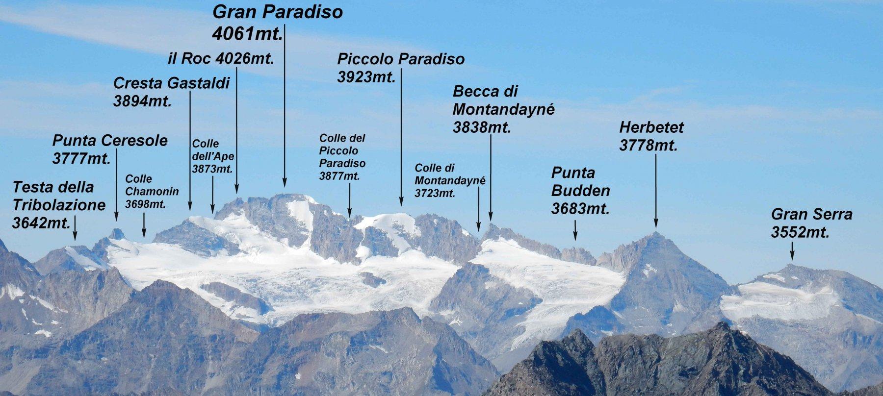 Panorama dal M.Glacier sul gruppo del Gran Paradiso.