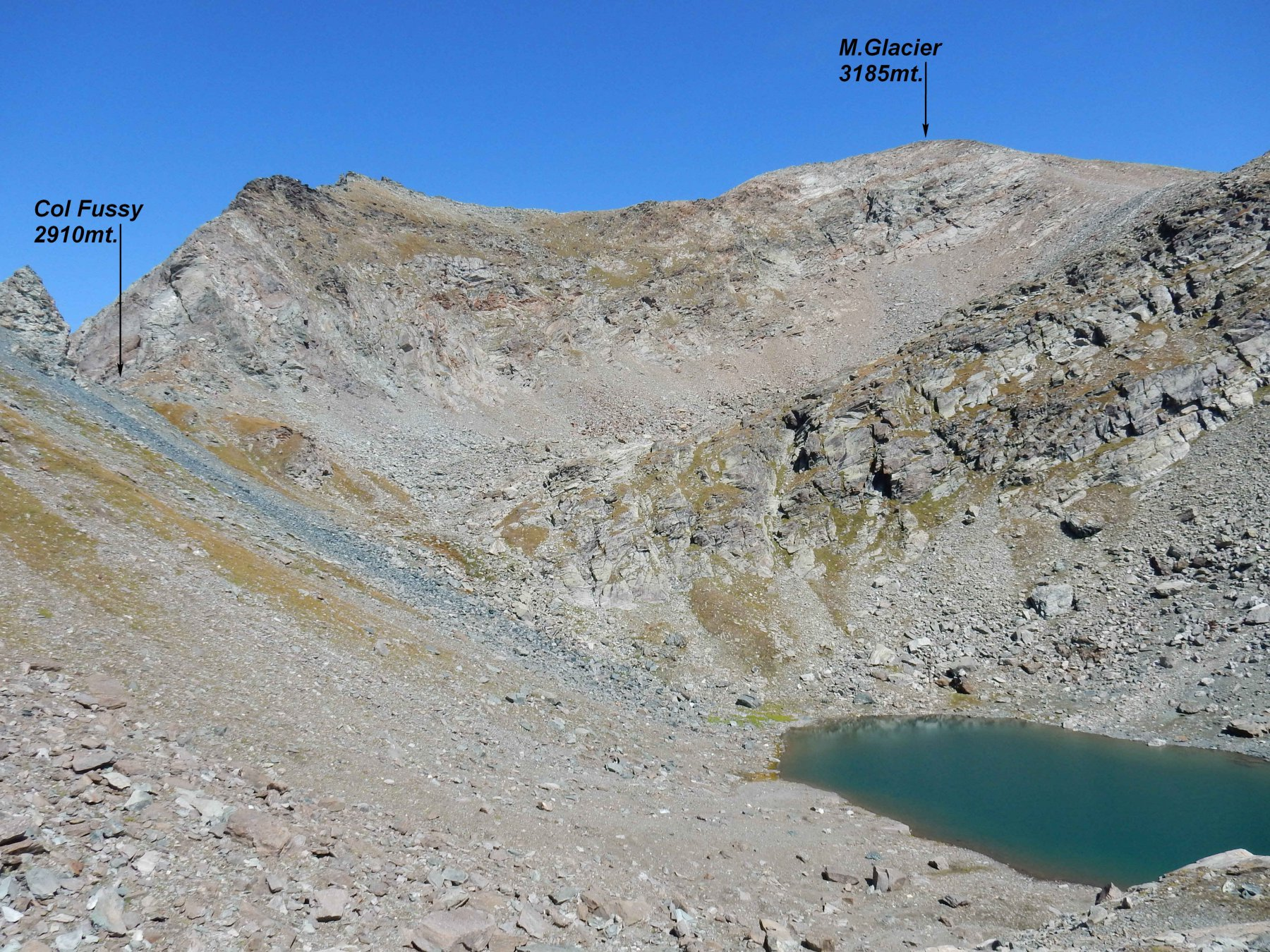Il M.Glacier visto da sopra il Lac Gelè.