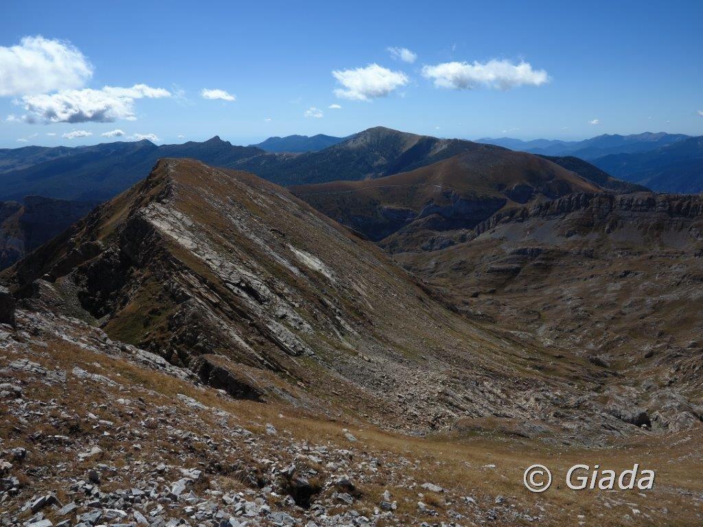 La Cima Palù con la cresta di salita dal Passo Palù vista salendo alla Bozano