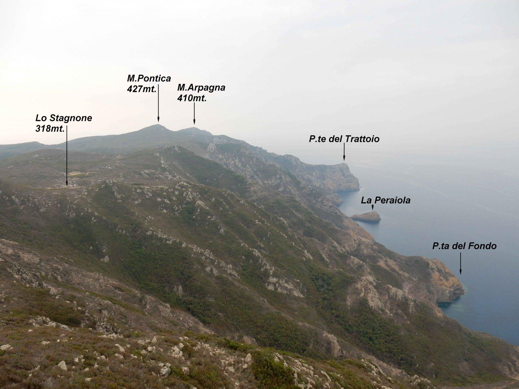Panorama verso la parte sud dell'Isola di Capraia.