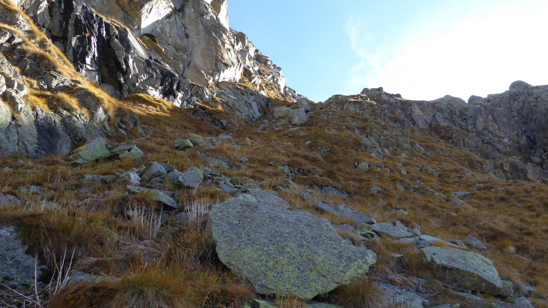 Canalino di salita, posto sopra l'Alpe Valsoera