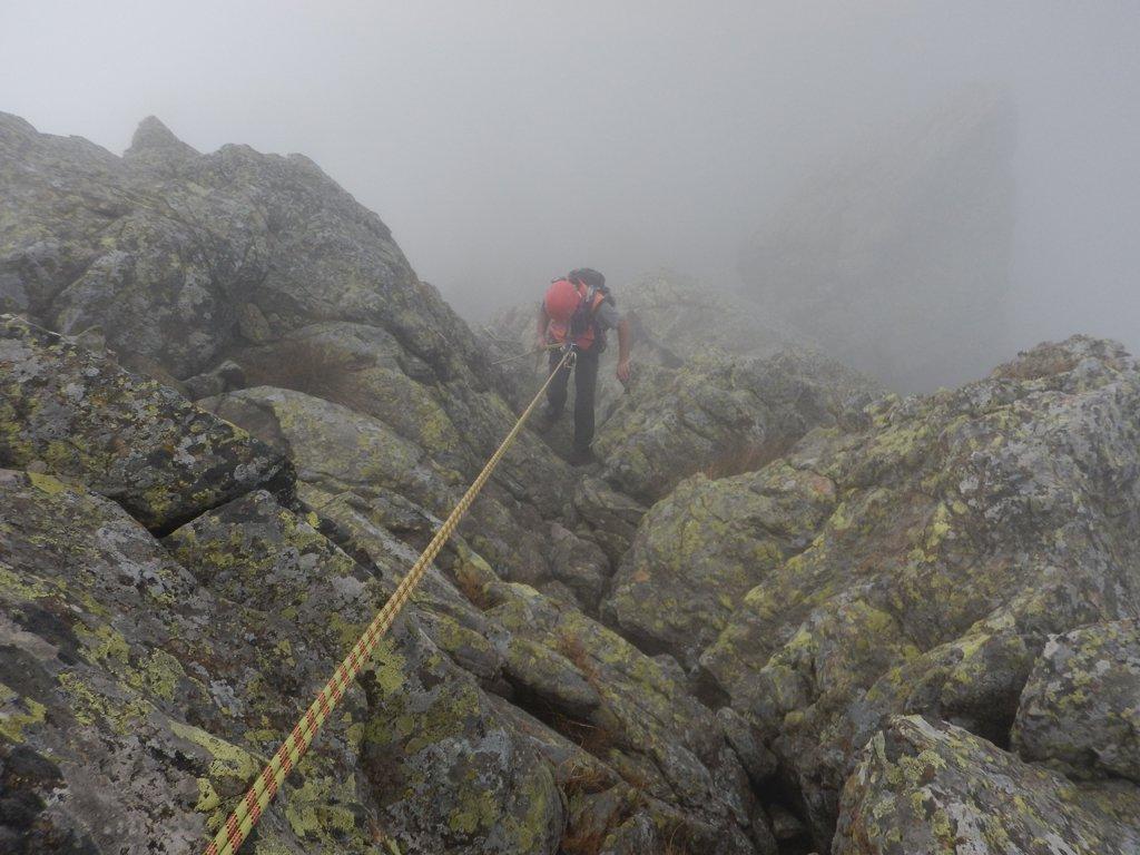 Doppia dal Picco Orientale nella nebbia