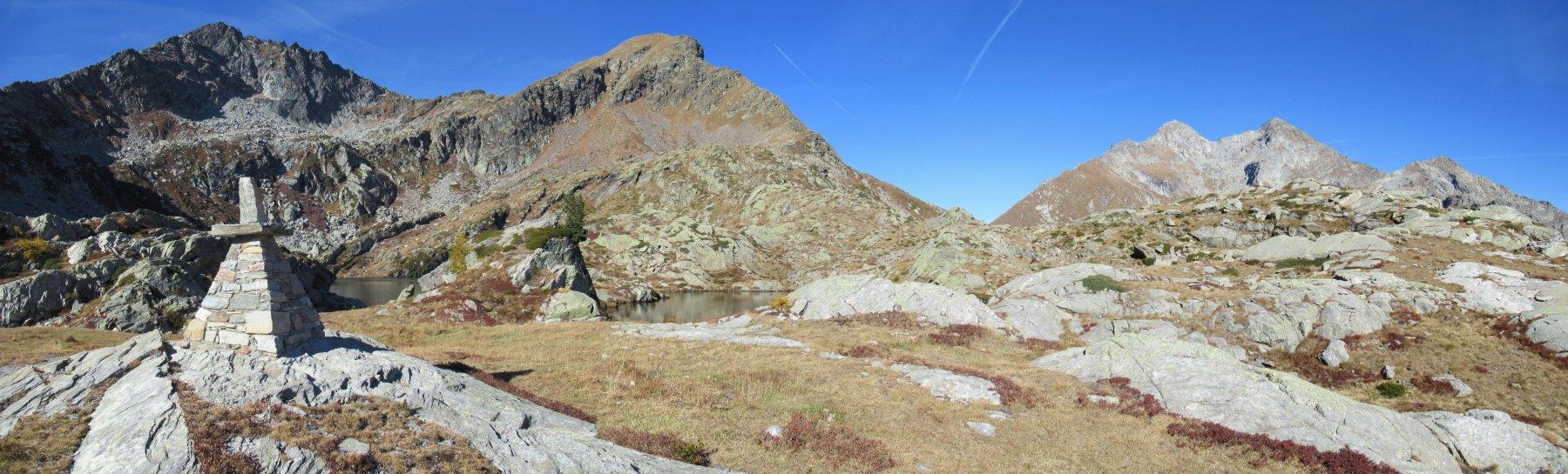 Piccoli Laghi con da sx Crabun, Corno del Lago e le Dame di Challand