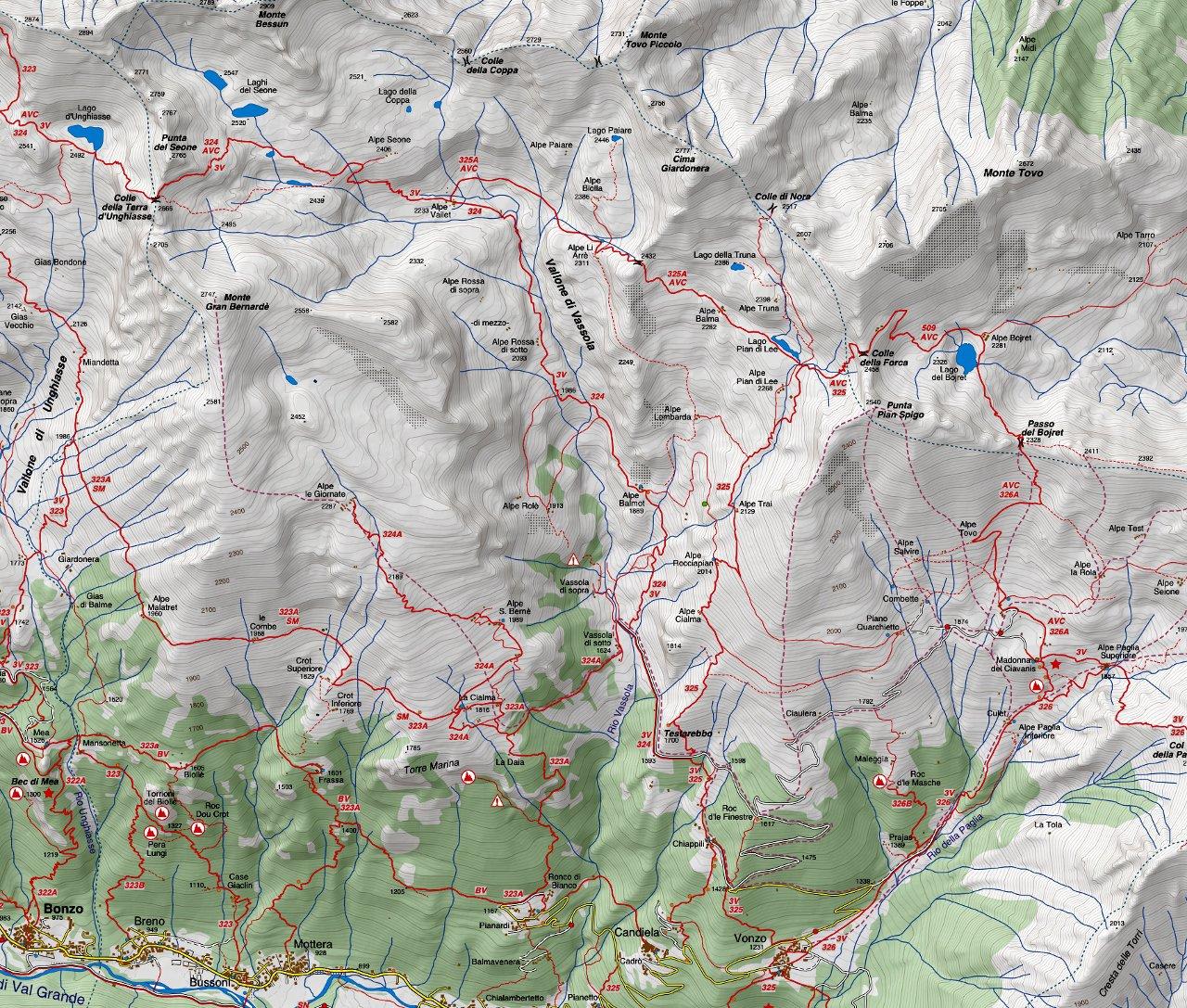 Cartina del Vallone di Vassona